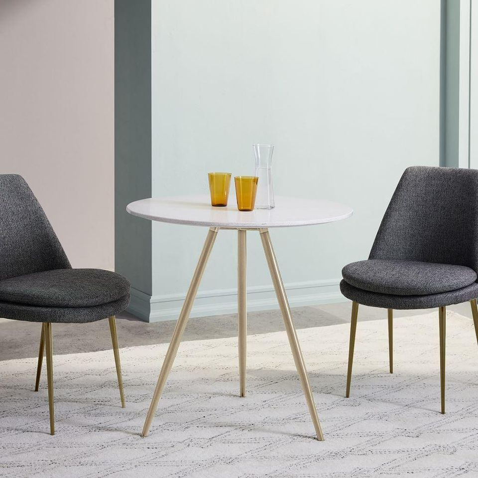 Preferred Frosted Glass Modern Dining Tables With Grey Finish Metal Tapered Legs Within 7 Small Kitchen Tables To Fit Your Space (View 22 of 25)