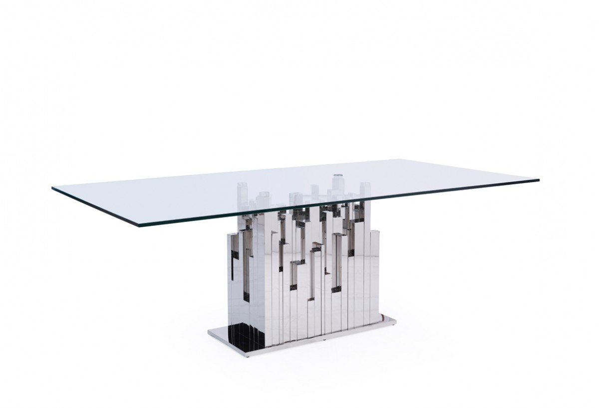 Preferred Modrest Edwin Modern Glass & Stainless Steel Dining Table Regarding Steel And Glass Rectangle Dining Tables (View 20 of 25)