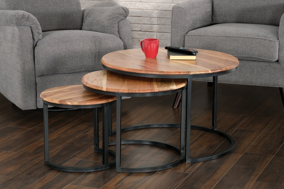 Preferred Primo International 36266 Trinity Acacia Wood & Iron Nesting Throughout Acacia Dining Tables With Black Rocket Legs (View 17 of 25)