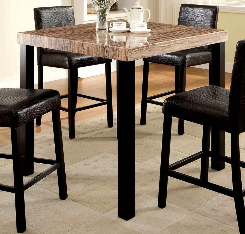 Preferred Rockham Ii Counter Height Table Faux Marble Top Black Finish Within Faux Marble Finish Metal Contemporary Dining Tables (View 20 of 25)