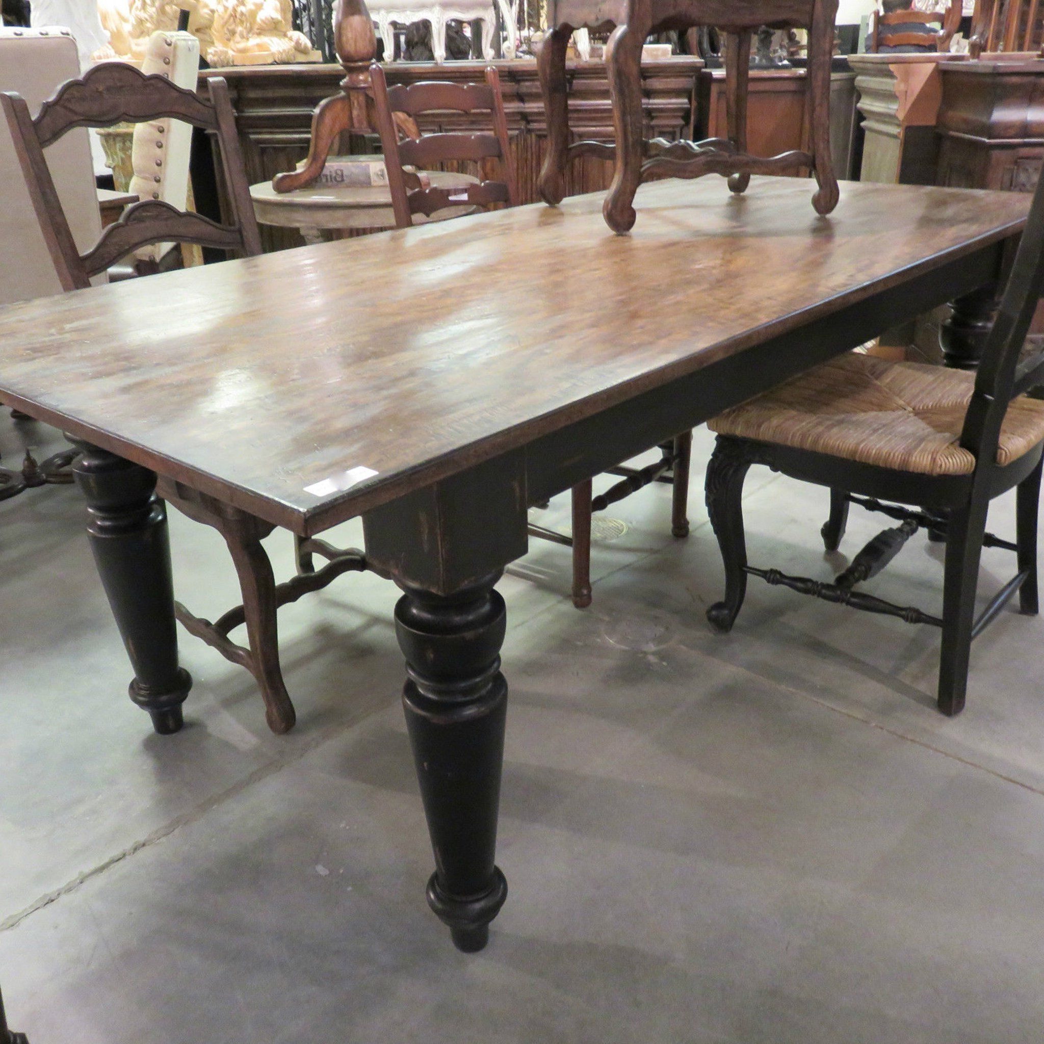 """Preferred Rustic Farmhouse Dining Table 72"""" Black Distressed Reclaimed With Distressed Walnut And Black Finish Wood Modern Country Dining Tables (View 5 of 25)"""