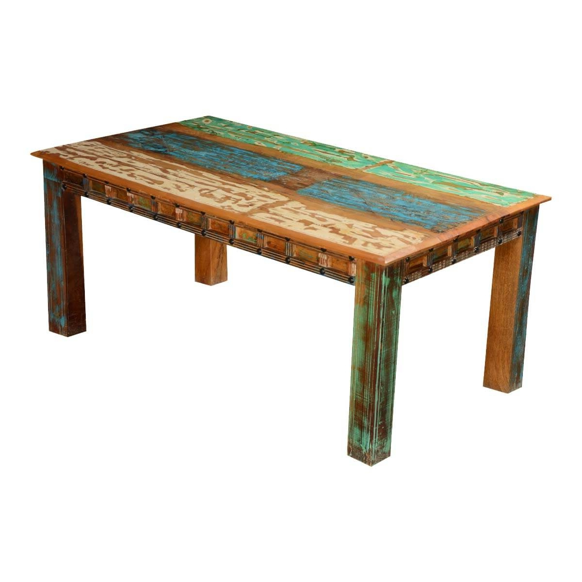 Preferred Small Round Dining Tables With Reclaimed Wood With Gothic Rustic Rainbow Reclaimed Wood Dining Table Hover Zoom (View 19 of 25)