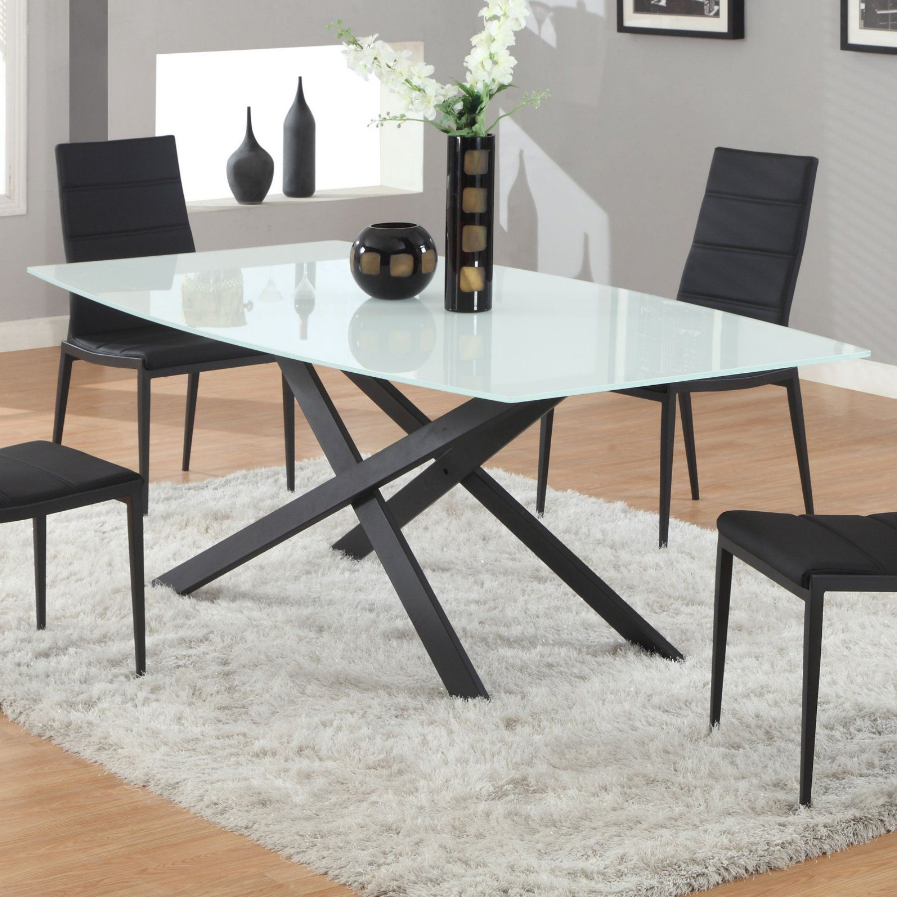 Products Throughout Newest Frosted Glass Modern Dining Tables With Grey Finish Metal Tapered Legs (View 23 of 25)