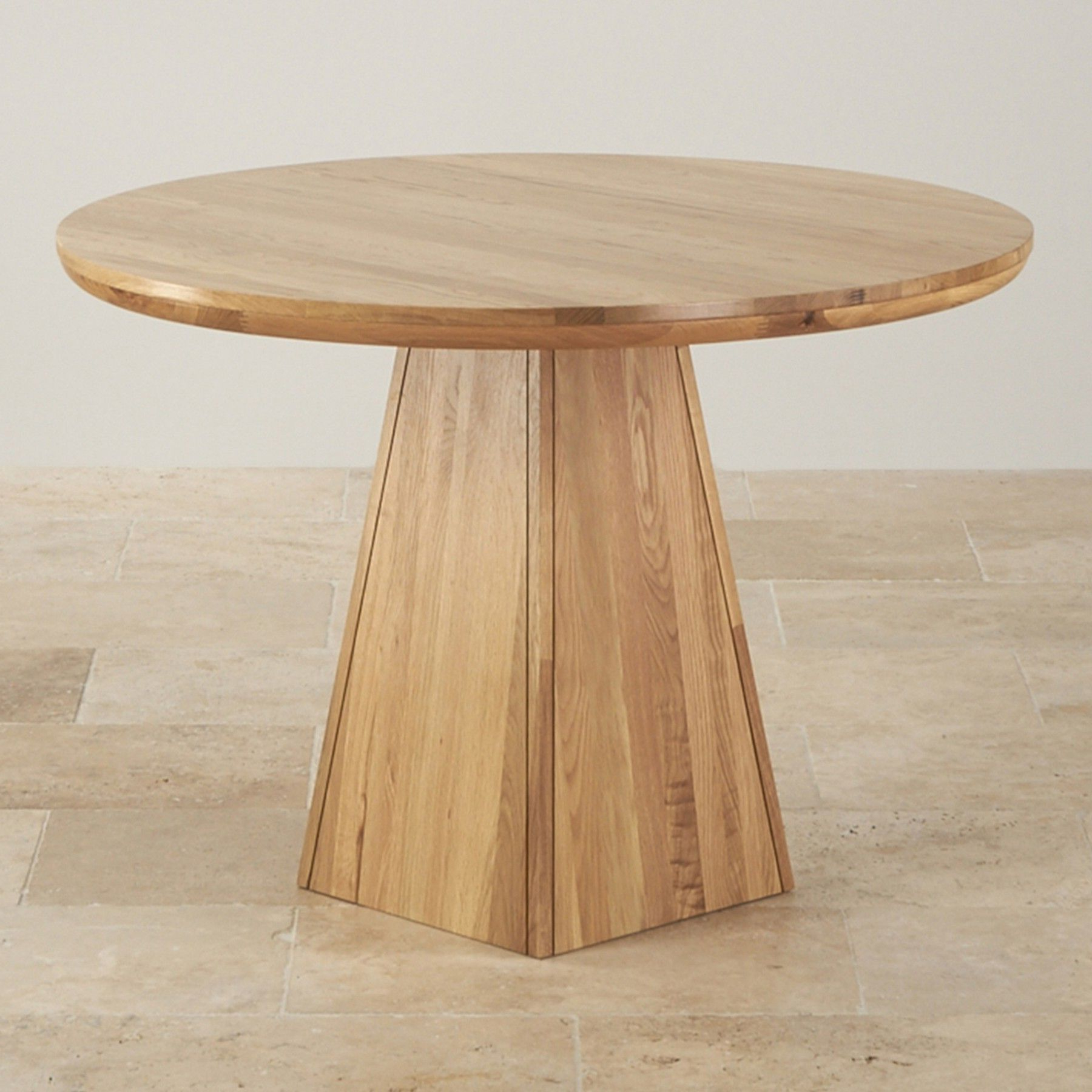 Provence Natural Solid Oak Round Table With Pyramid Base In Most Popular Solid Wood Circular Dining Tables White (View 4 of 25)