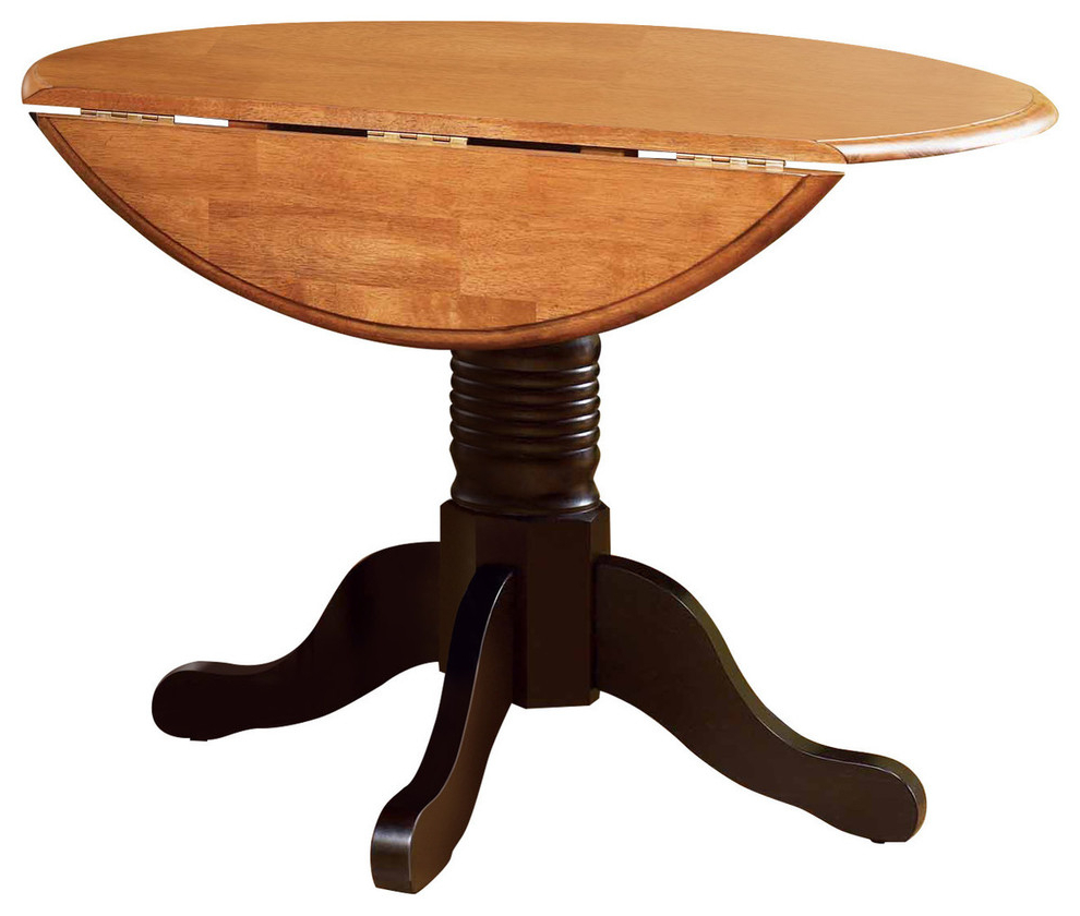 Recent A-America British Isles Round Drop Leaf Dining Table, Espresso for Alamo Transitional 4-Seating Double Drop Leaf Round Casual Dining Tables