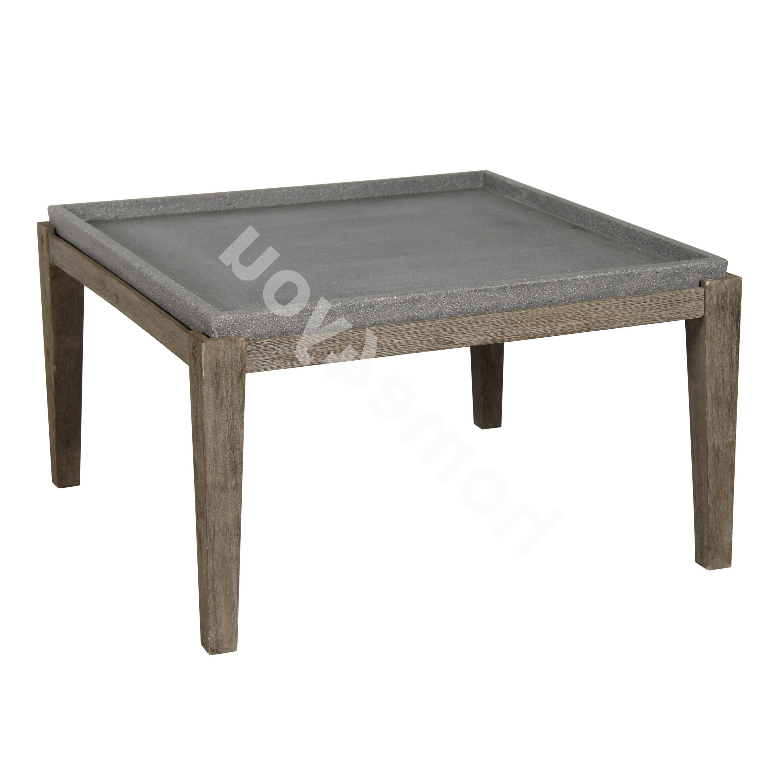 Recent Acacia Dining Tables With Black-Legs inside Side Table Sandstone 83,5X83,5Xh45,5Cm, Table Top: Polystone, Acacia Wood  Legs