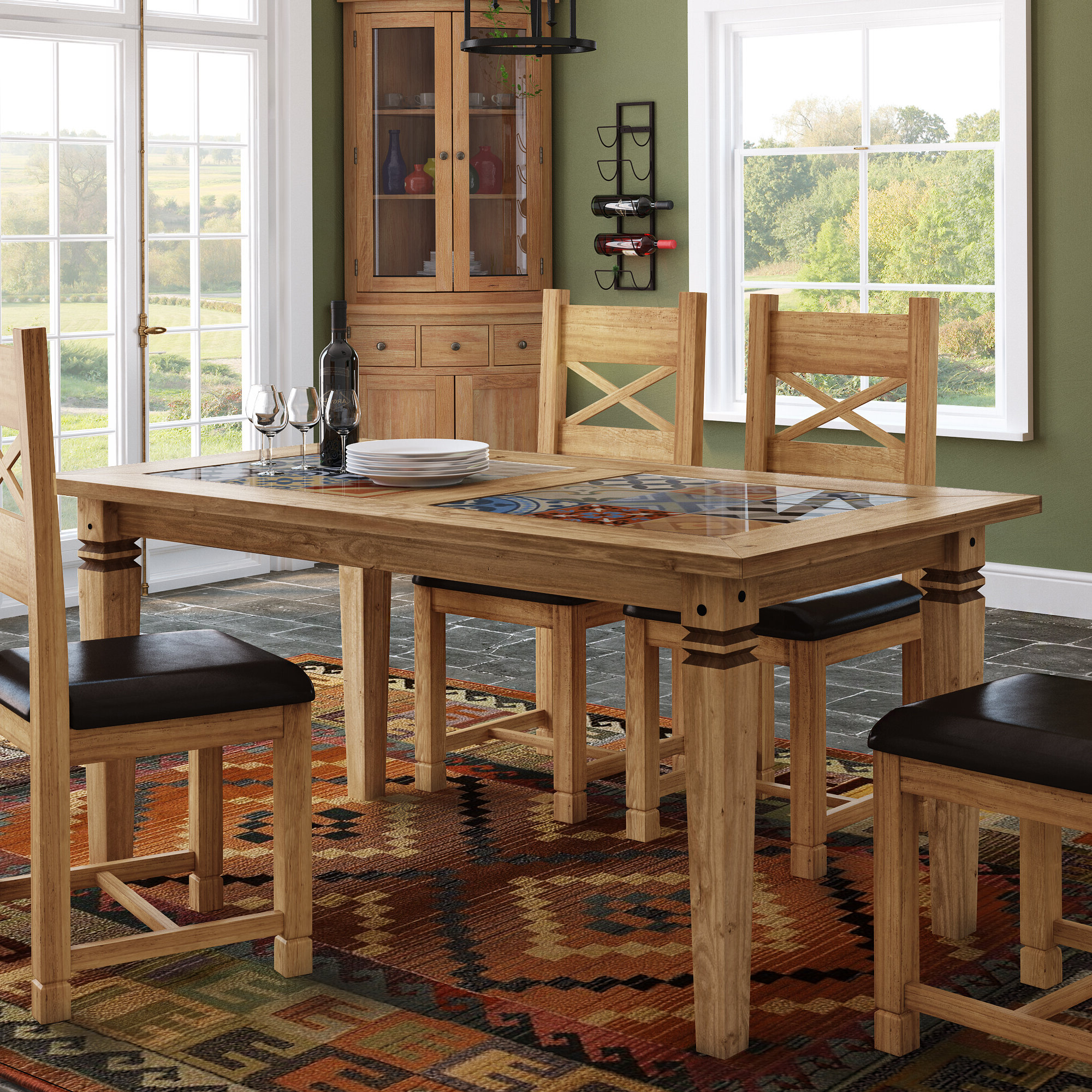 Recent Boundary Ridge Tile Top Dining Table with Wood Top Dining Tables