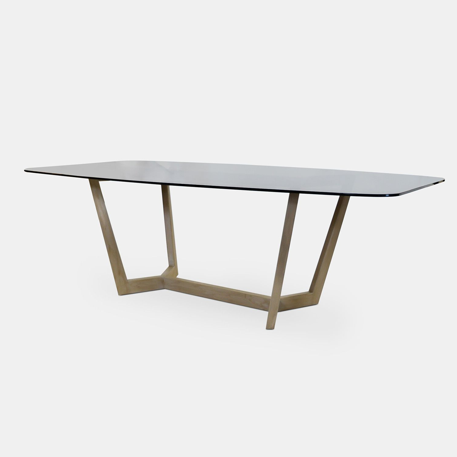 Recent Bronze Glass Top Dining Table & Solid Wood Oak Base – Rotsen For Smoked Oval Glasstop Dining Tables (View 19 of 25)