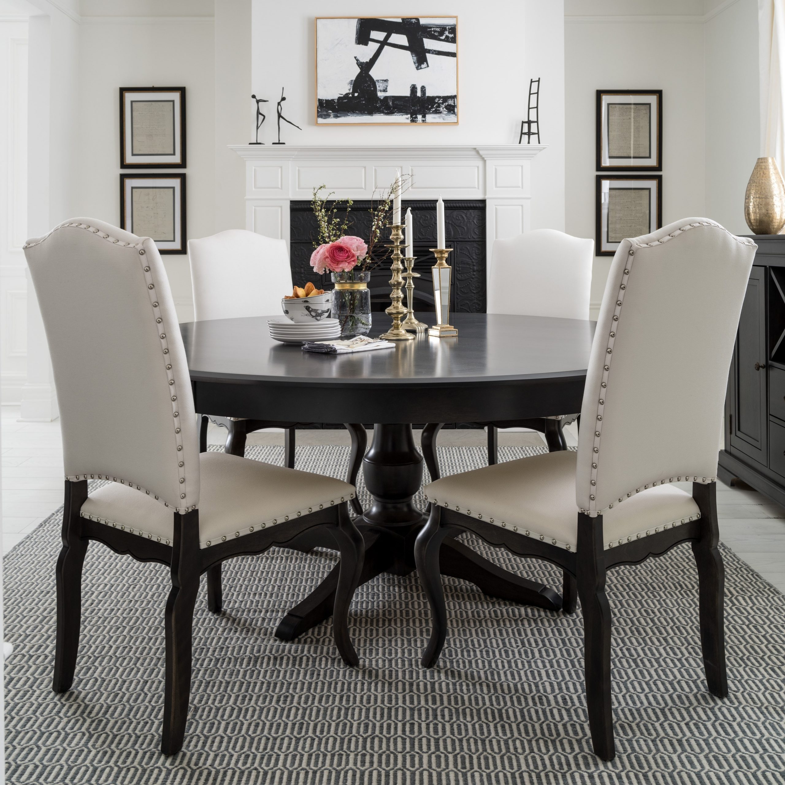 Recent Canadel Custom Dining Customizable Round Table With Single With Bistro Transitional 4 Seating Square Dining Tables (View 14 of 24)