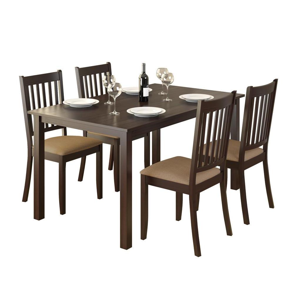 Recent Corliving Atwood 5-Piece Dining Set With Beige Microfiber intended for Atwood Transitional Rectangular Dining Tables