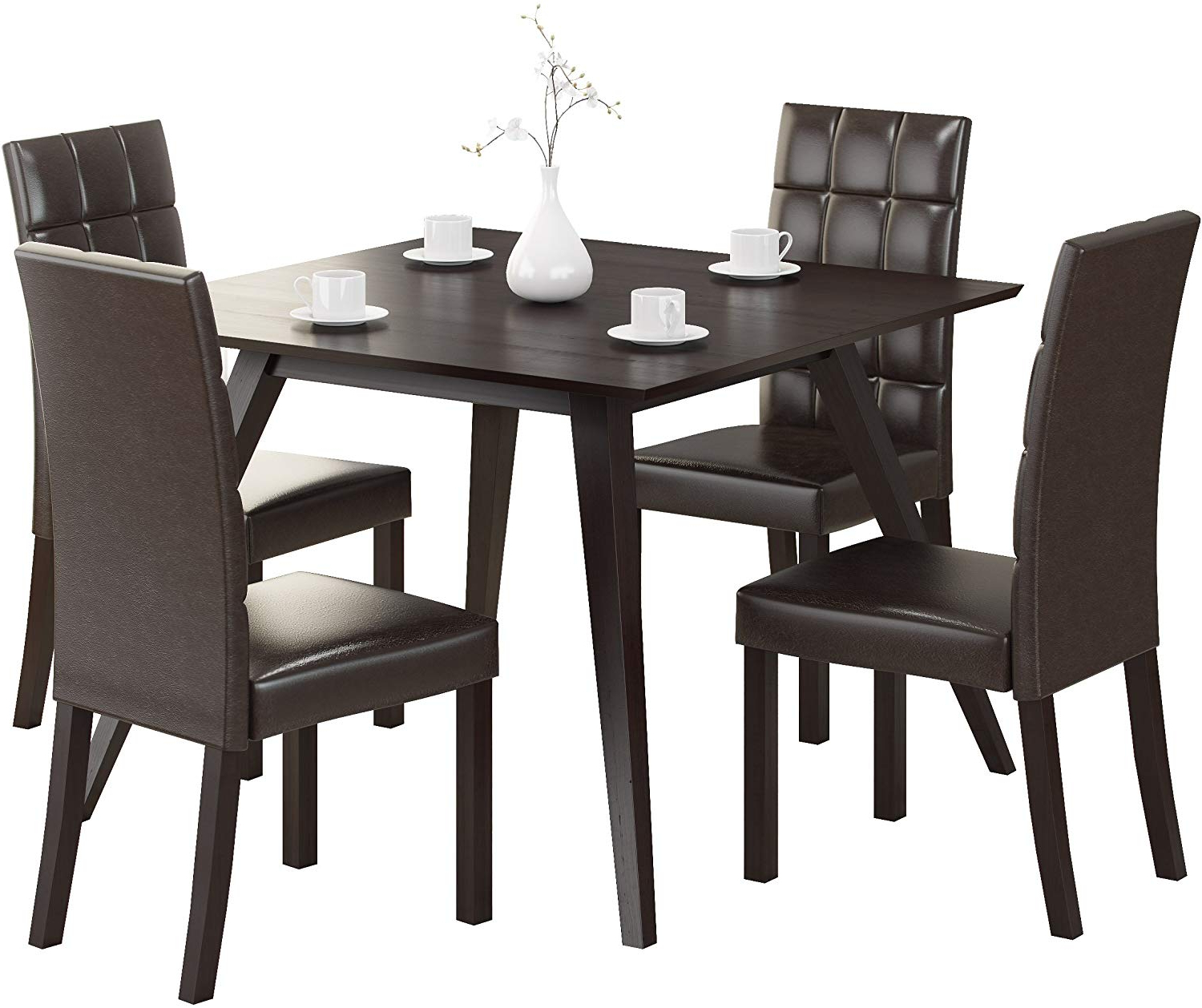Recent Corliving Atwood Dining Set, Dark Brown Intended For Atwood Transitional Square Dining Tables (View 3 of 25)
