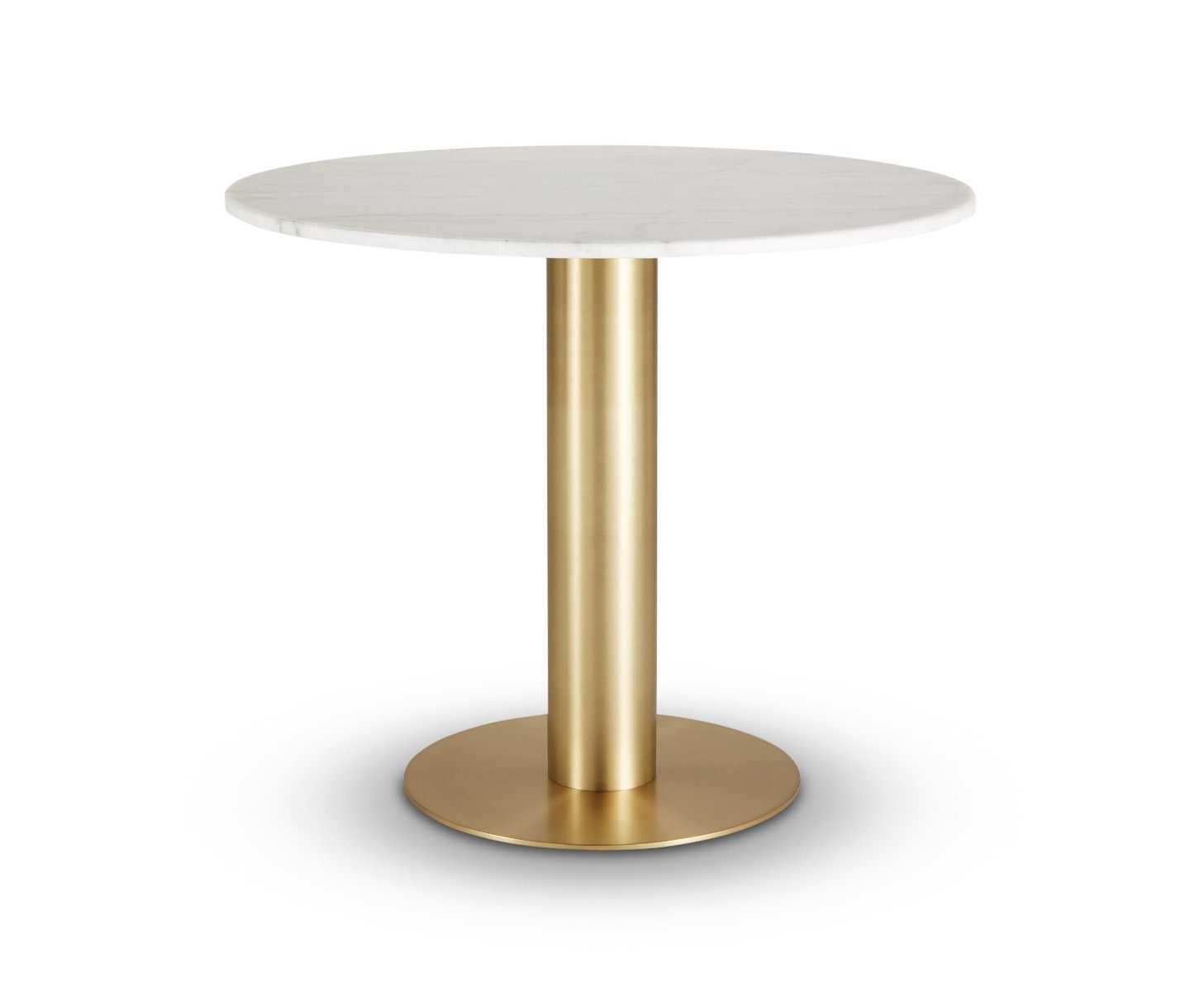 Recent Dining Tables With White Marble Top intended for Tube Dining Table Brass White Marble Top 900Mm