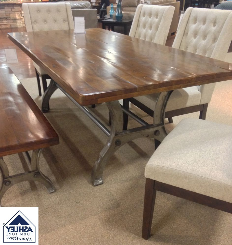 Recent Iron Wood Dining Tables With Metal Legs inside Ranimar Dining Room Table Thick Plank Tabletop Crafted Of