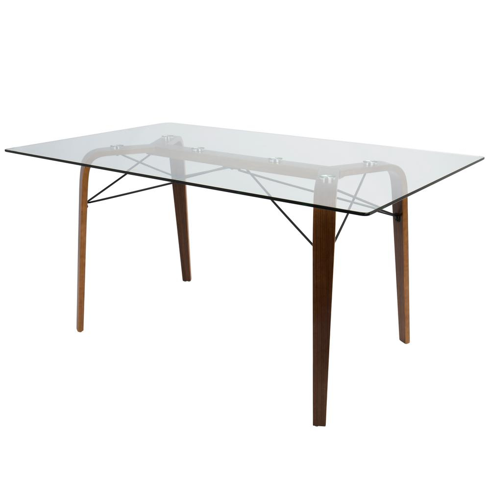 Recent Lumisource Trilogy Mid-Century Modern Walnut Rectangular with Modern Gold Dining Tables With Clear Glass