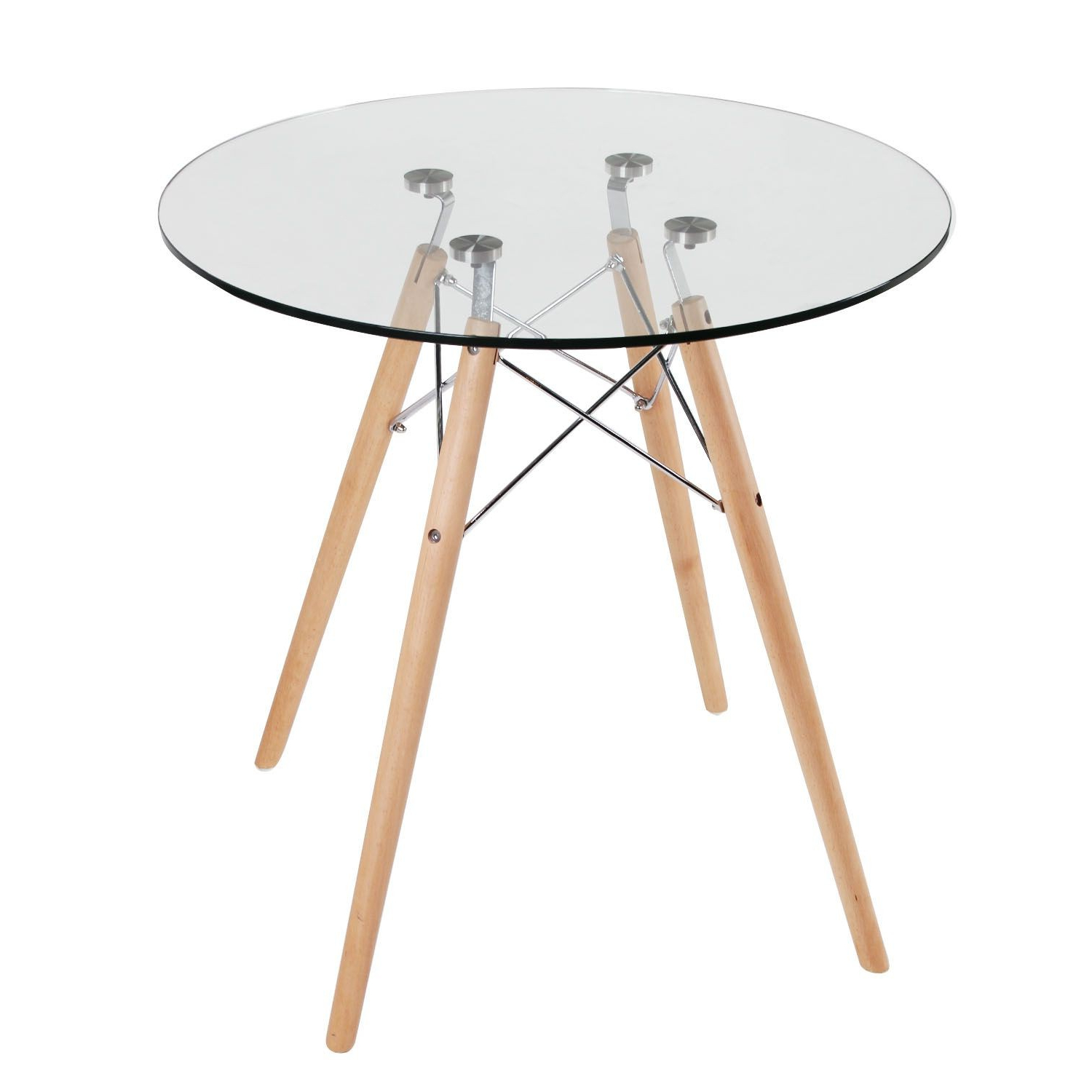 Recent Replica Eames Eiffel Wood Leg Table pertaining to Eames Style Dining Tables With Chromed Leg And Tempered Glass Top