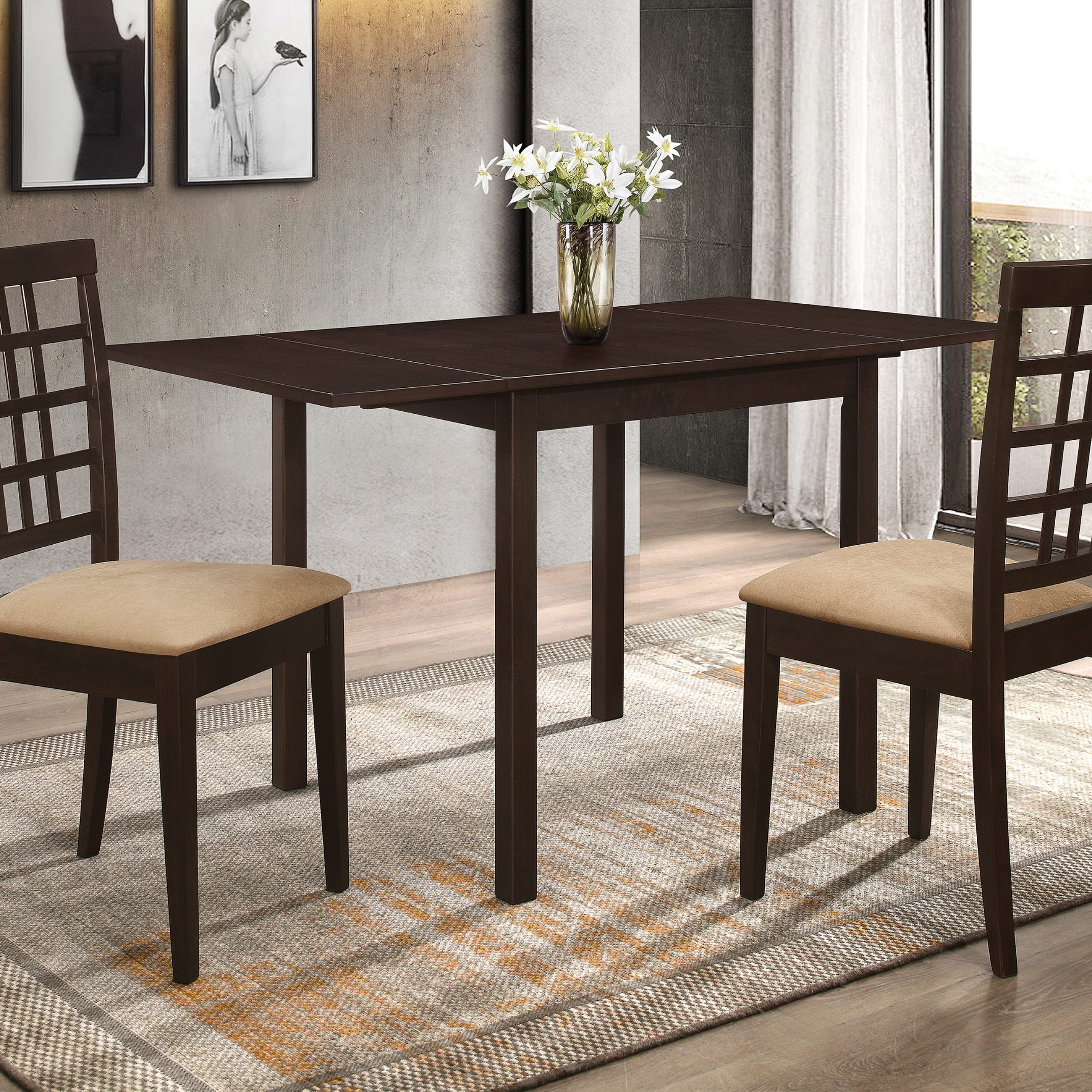Recent Transitional 3 Piece Drop Leaf Casual Dining Tables Set Pertaining To Kelso Rectangular Dining Table With Drop Leaf Cappuccino (View 12 of 25)