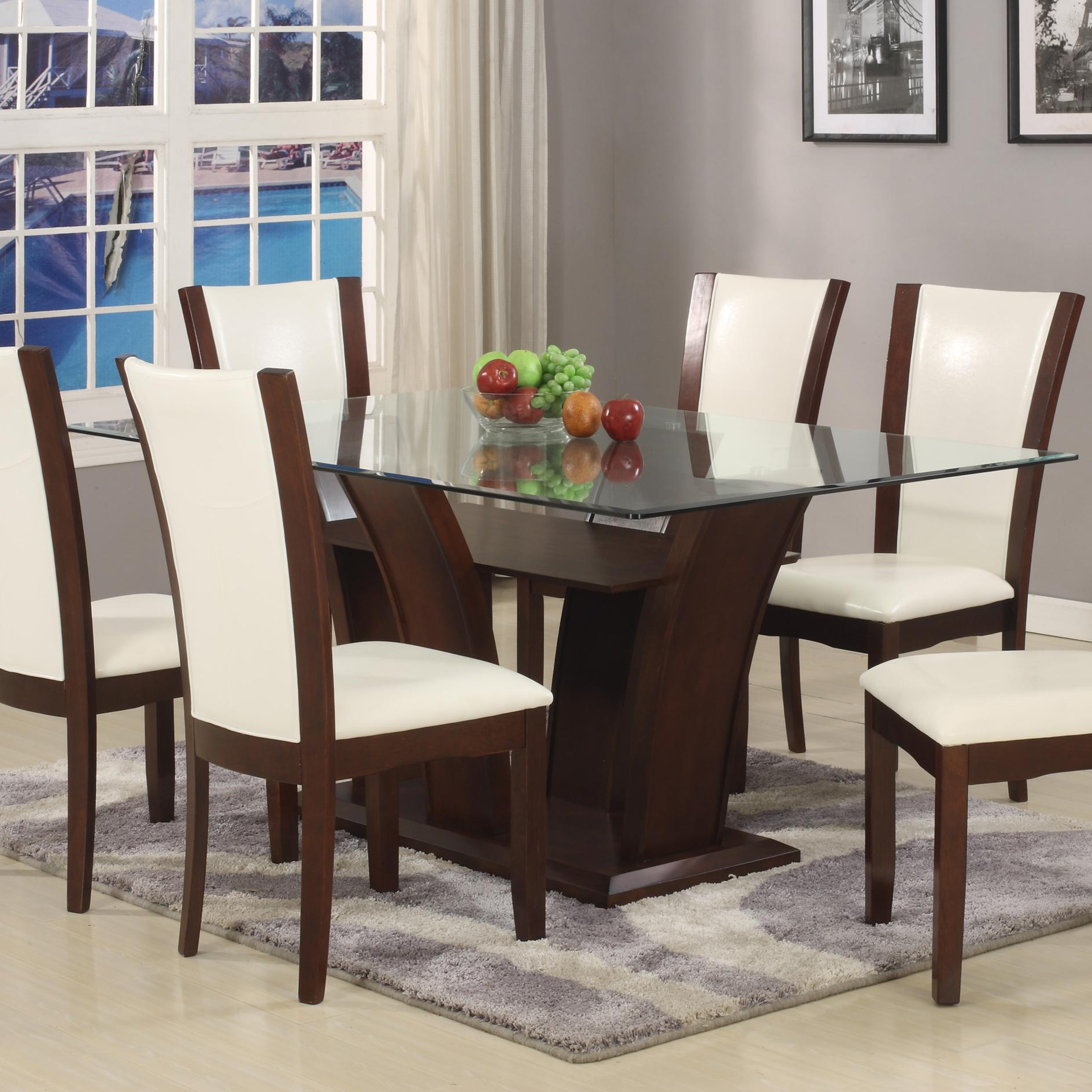 Rectangular Glass Top Dining Tables Regarding Favorite Camelia White Dining Table (View 3 of 25)