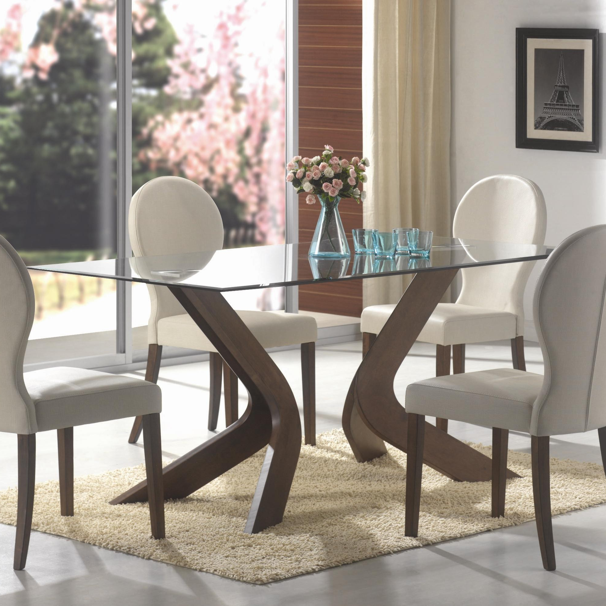 Rectangular Glasstop Dining Tables intended for Latest Glass Top Dining Tables With Wood Base Interior Ideas