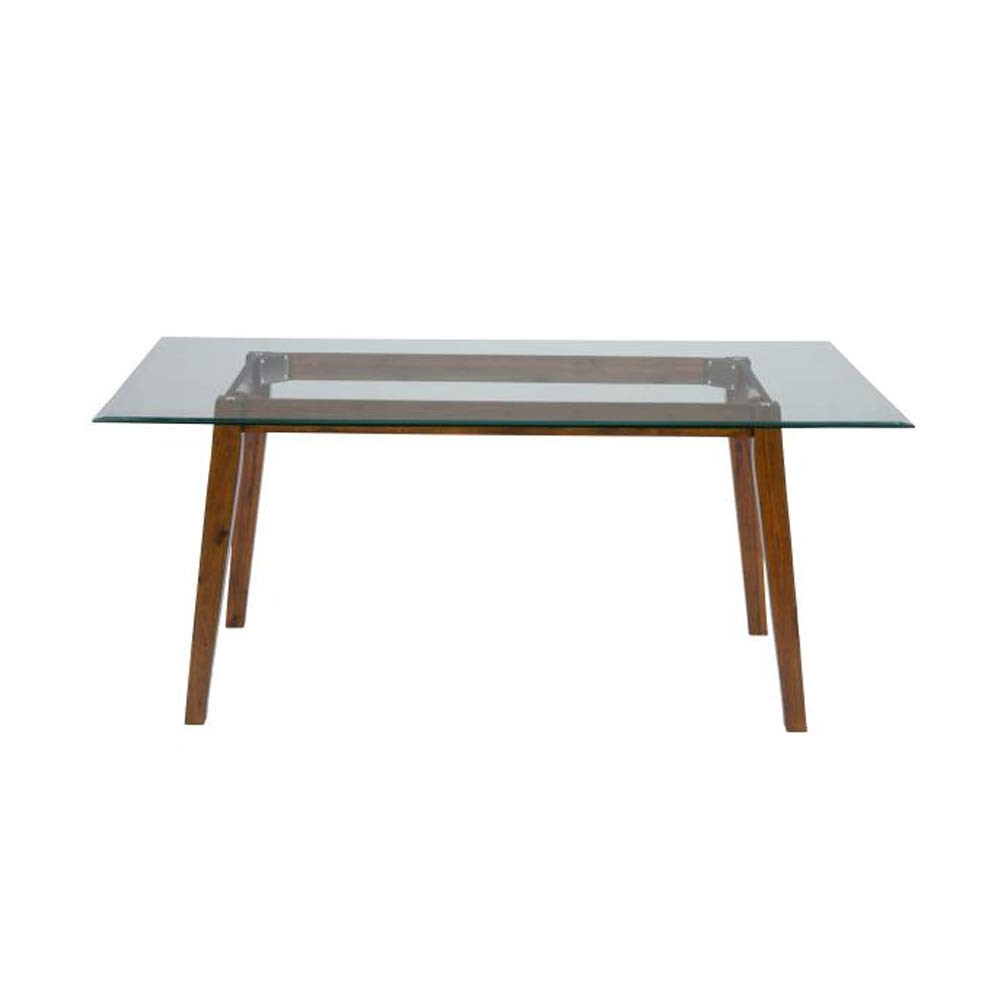 Rectangular Glasstop Dining Tables regarding Most Popular Amazon - Benzara Bm183561 Wooden Dining Table With Glass