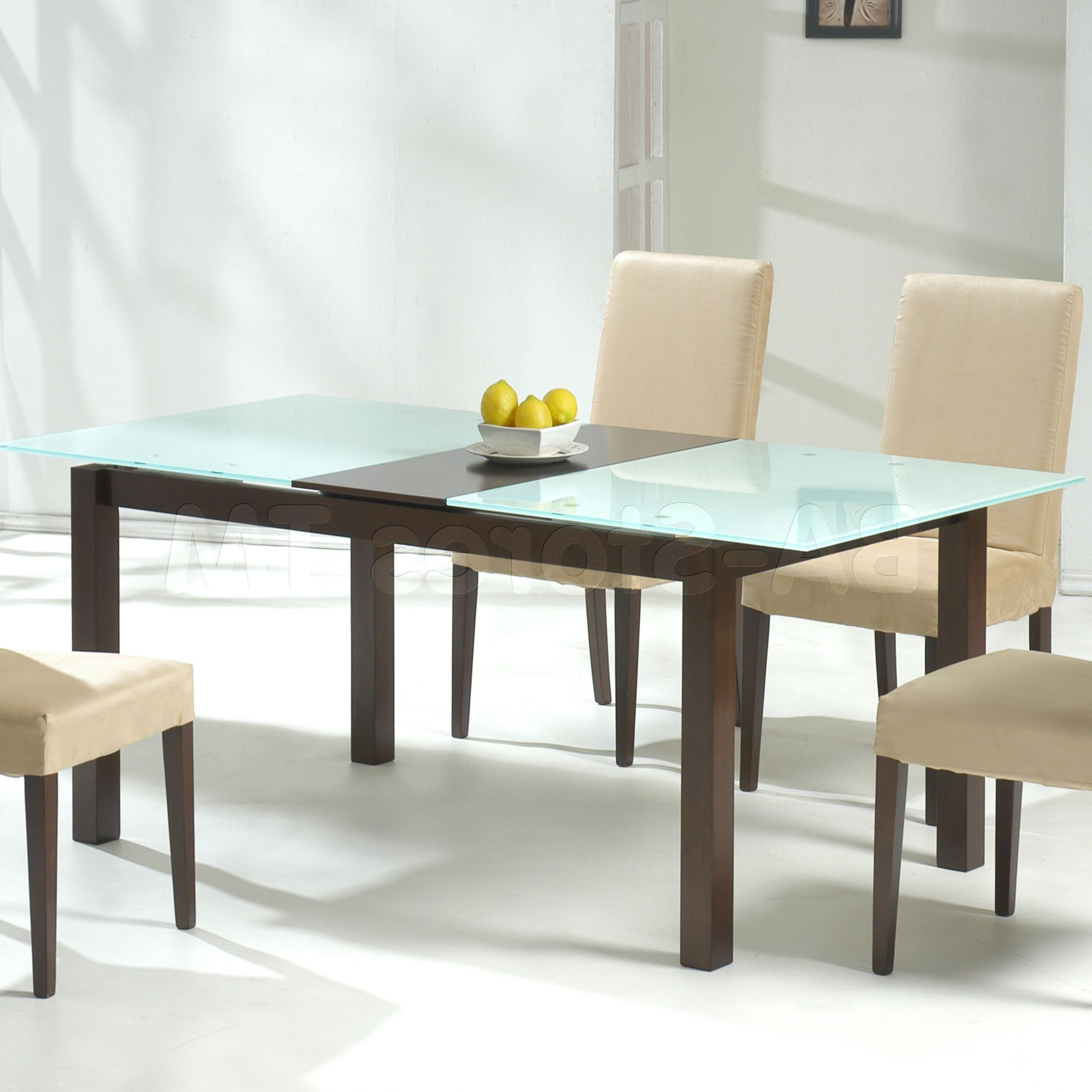 Rectangular Glasstop Dining Tables within Most Recent Black Dining Table With Rectangle Glass Top Plus Cream