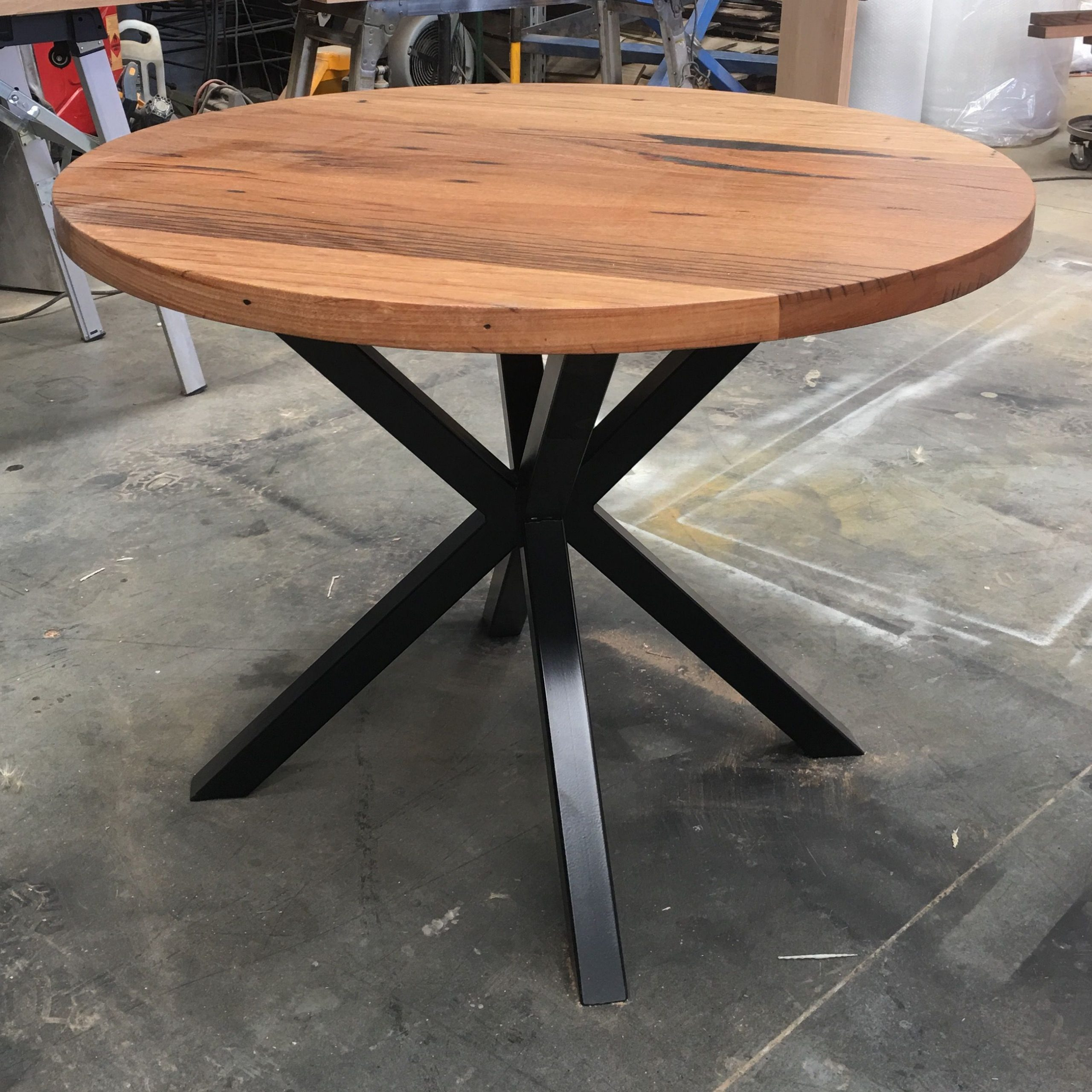 Recycled Messmate Dining Table With Black Cross Metal Legs Pertaining To Well Known Acacia Dining Tables With Black X Leg (View 23 of 25)