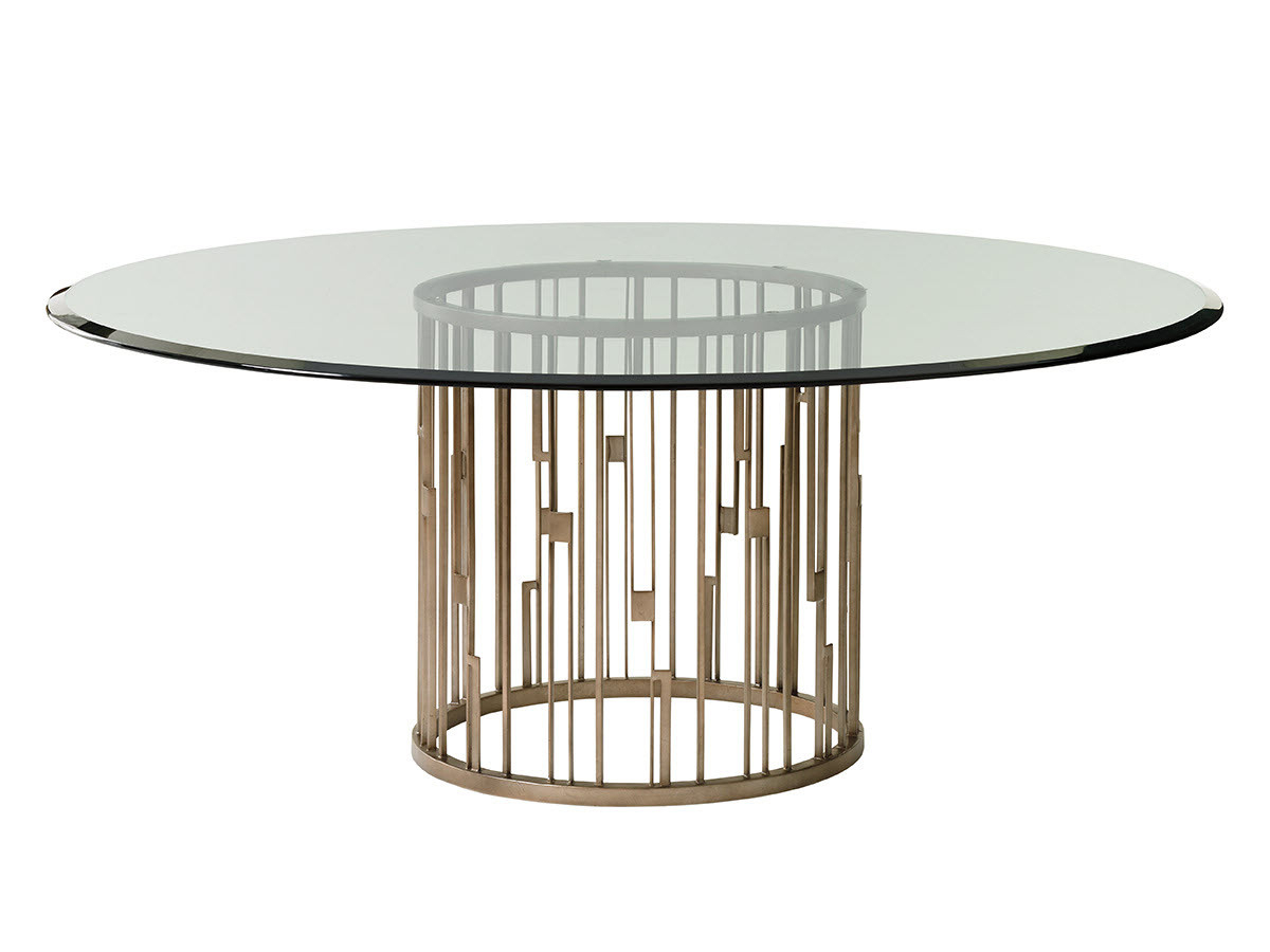 Rendezvous Round Metal Dining Table With Glass Top Intended For Fashionable Round Dining Tables With Glass Top (View 20 of 25)