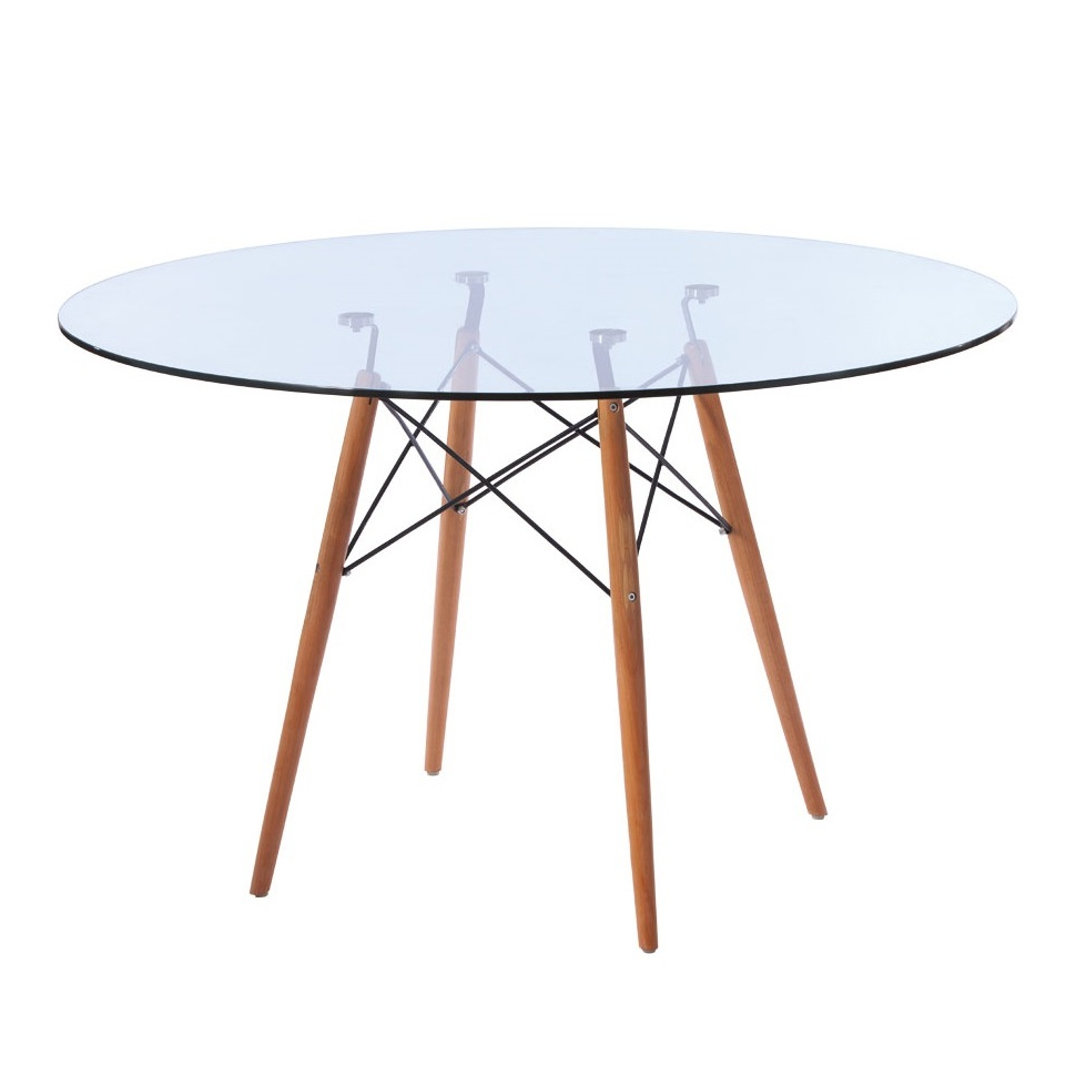 Replica Eames Eiffel Wood Leg Table in Most Up-to-Date Eames Style Dining Tables With Chromed Leg And Tempered Glass Top