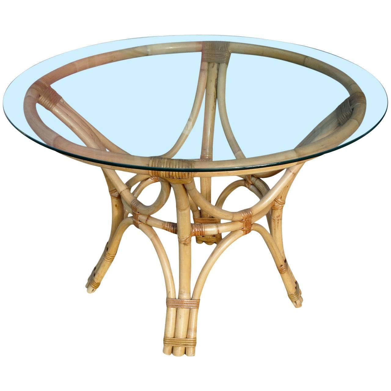 Restored Rattan Bentwood Dining Table With Round Glass Top inside Trendy Round Glass Top Dining Tables