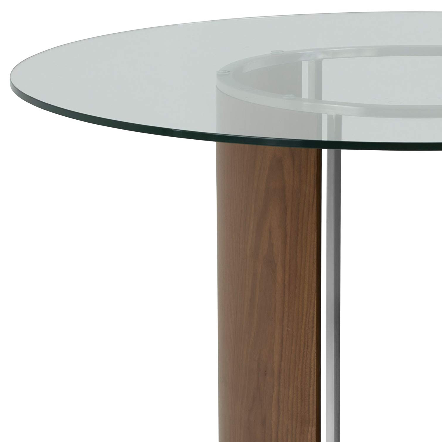 Round Dining Tables With Glass Top Intended For Newest Armen Living Delano Dining Table With Clear Glass Top, Walnut Wood And Brushed Stainless Steel Finish (View 24 of 25)