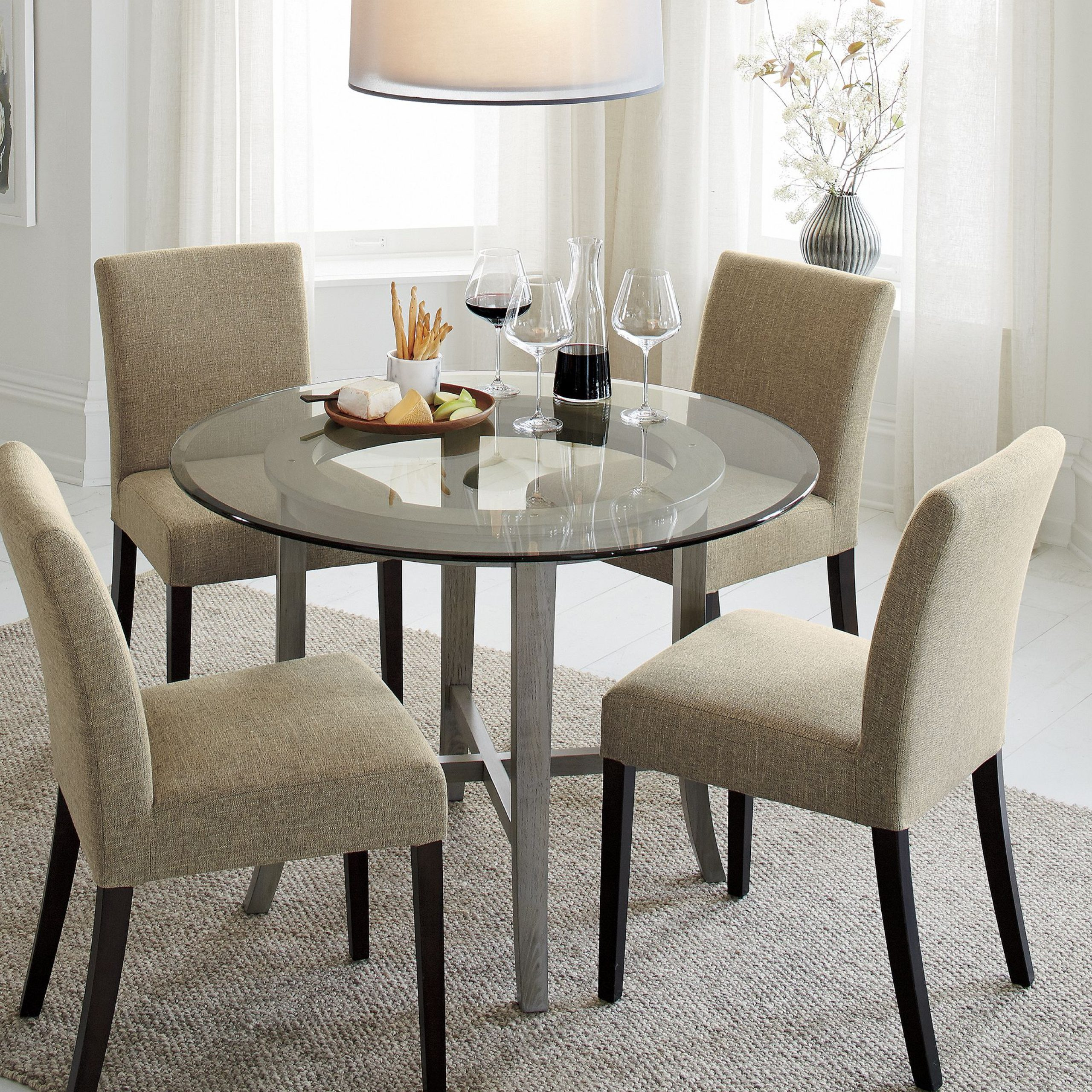 "Round Dining Tables With Glass Top Pertaining To Preferred Halo Grey Round Dining Table With 42"" Glass Top + Reviews (View 23 of 25)"