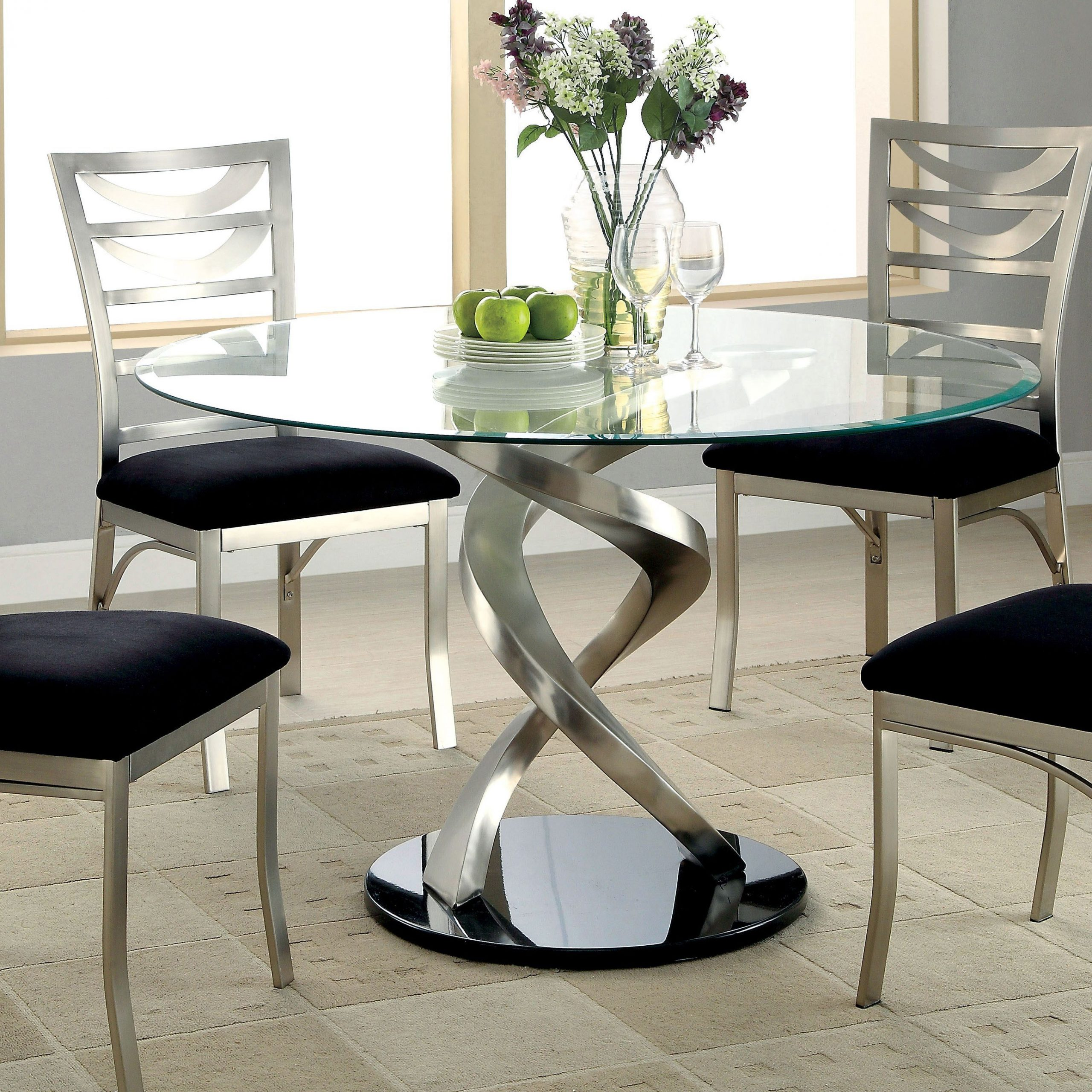 Round Glass Top Dining Tables For Most Recent Furniture Of America Sculpture I Contemporary Glass Top (View 3 of 25)