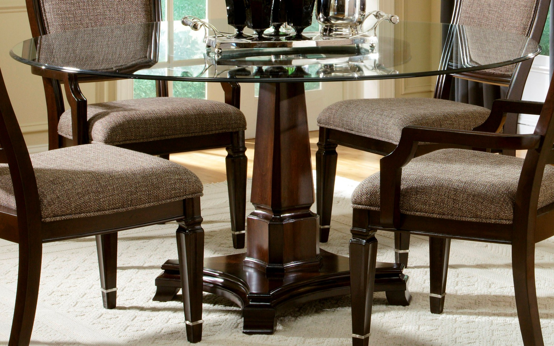 Round Glass Top Dining Tables Intended For Most Current Glass Top Dining Tables With Wood Base Interior Ideas (View 11 of 25)