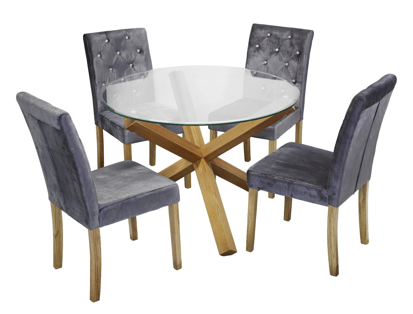 Round Glass Top Dining Tables intended for Newest Details About Trend Solid Oak Round Glass Top Dining Table & 4 Amour Silver  Fabric Chair Set