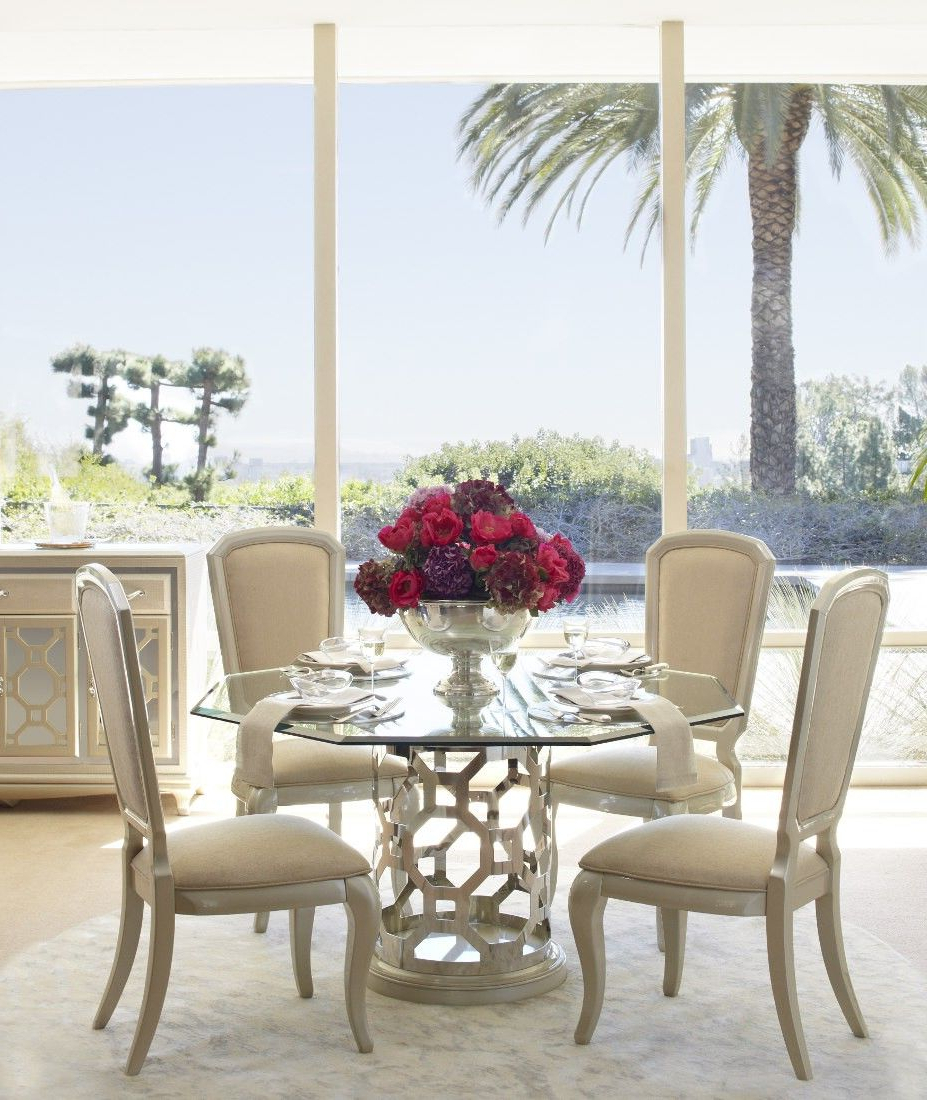 Round Glass Top Dining Tables with Latest Aico After Eight Pearl Round Shaped Glass Top Dining Table