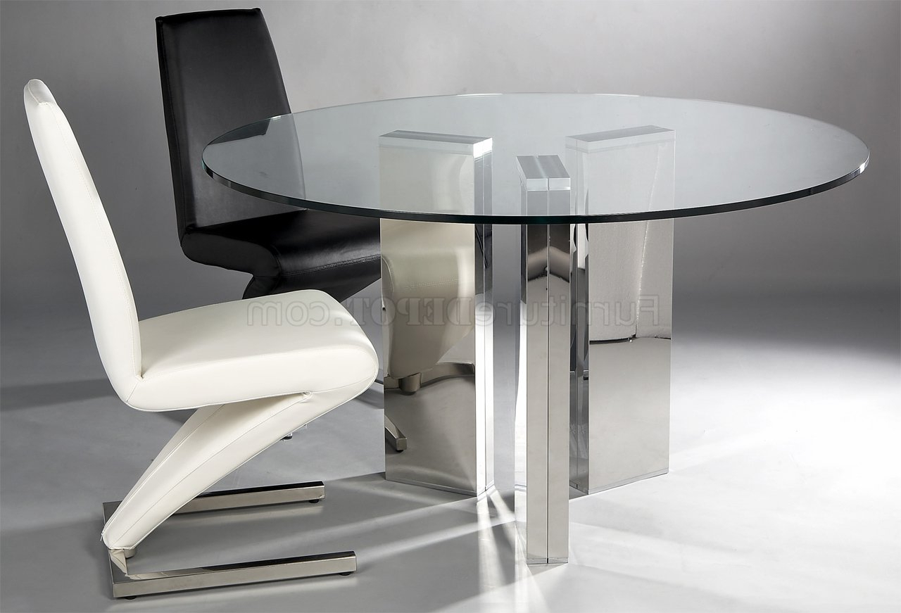 Round Tempered Glass Top Modern Dining Table W/optional Chairs Pertaining To Latest Modern Round Glass Top Dining Tables (View 6 of 25)