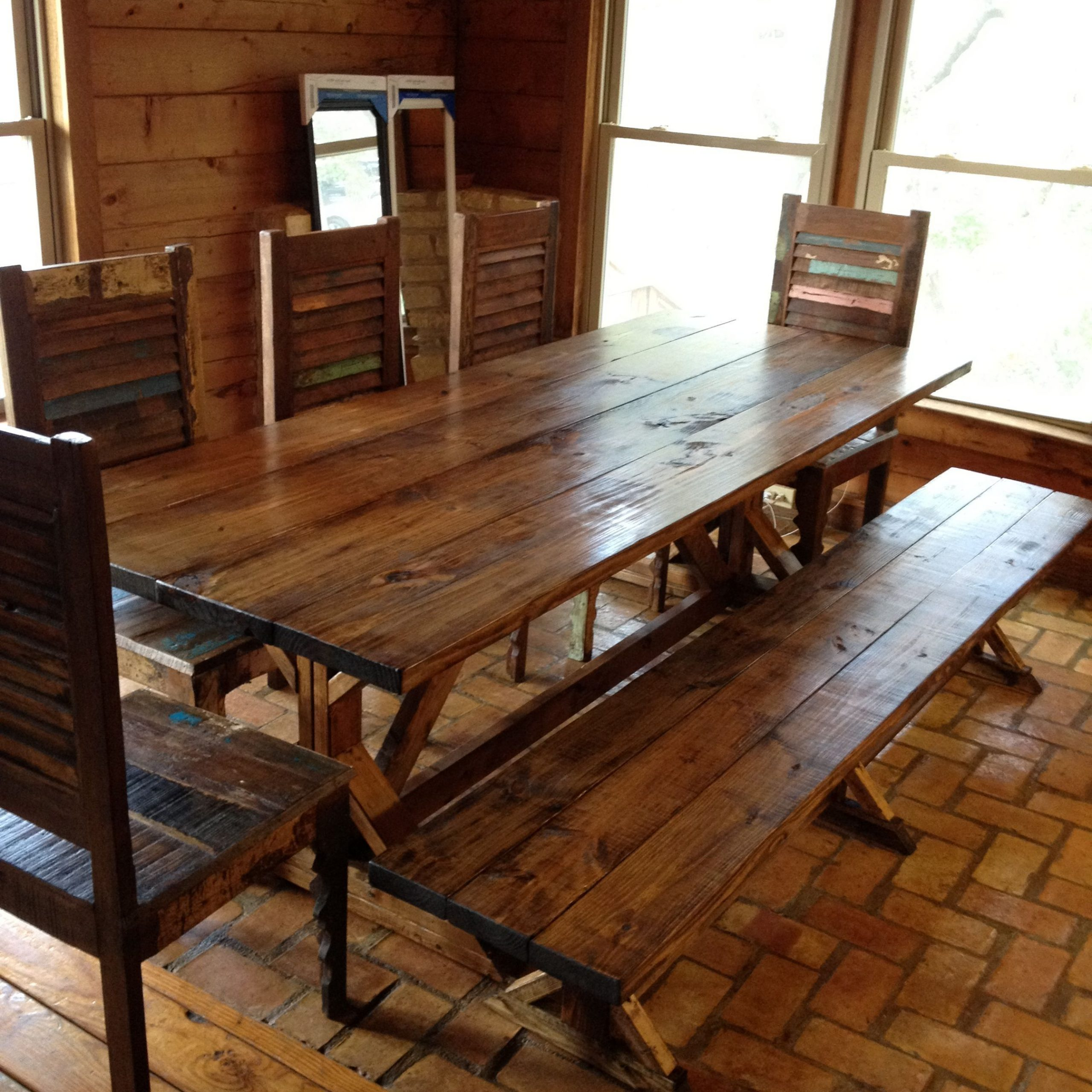 Rustic Dining Tables With Benches Rustic Dining Table Picnic intended for Most Up-to-Date Small Rustic Look Dining Tables