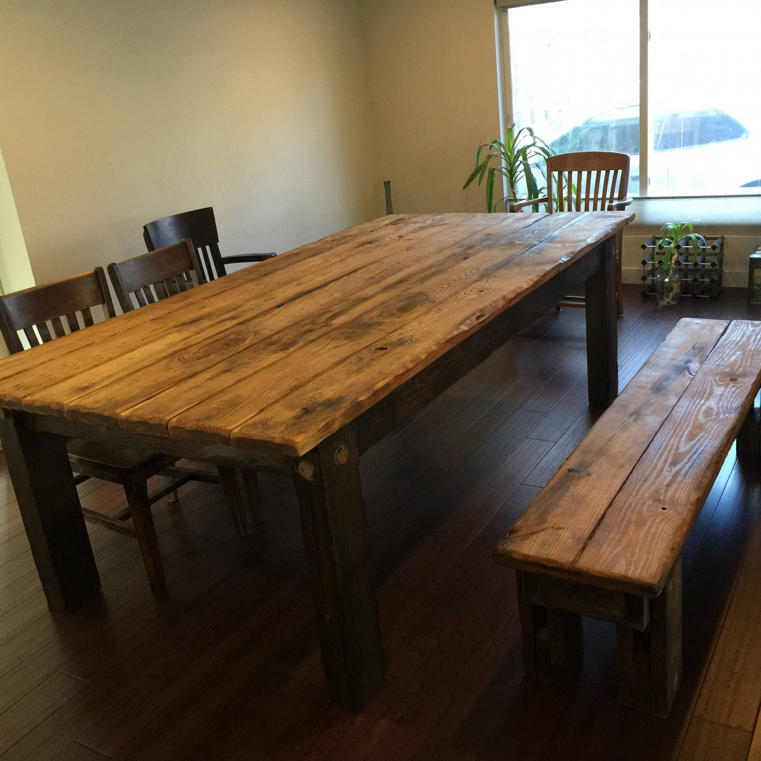 Rustic Farmhouse Table Set Large Farm House Cabin 8-Foot regarding Widely used Distressed Walnut And Black Finish Wood Modern Country Dining Tables