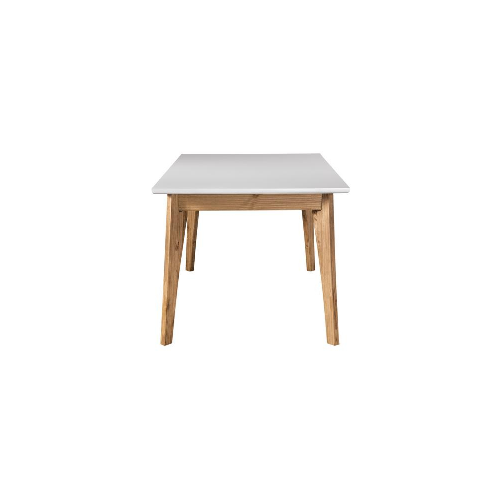 Rustic Mid-Century Modern 6-Seating Dining Tables In White And Natural Wood intended for Well-known Manhattan Comfort Jackie White And Natural Wood 6-Seat