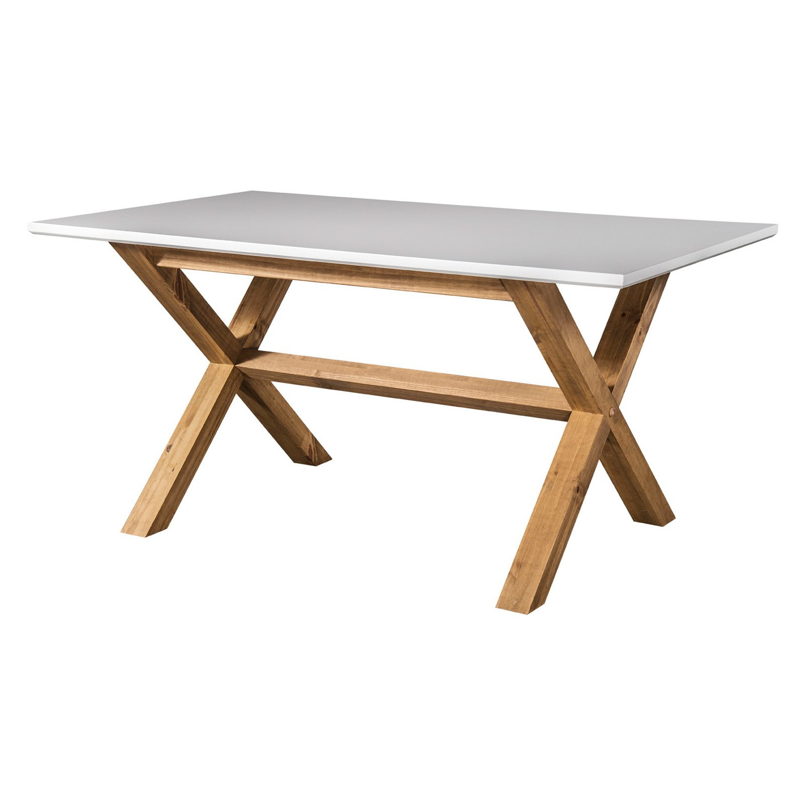 Rustic Mid-Century Modern Barclay 6-Seating Dining Table In White And  Natural Wood - Walmart in Trendy Rustic Mid-Century Modern 6-Seating Dining Tables In White And Natural Wood