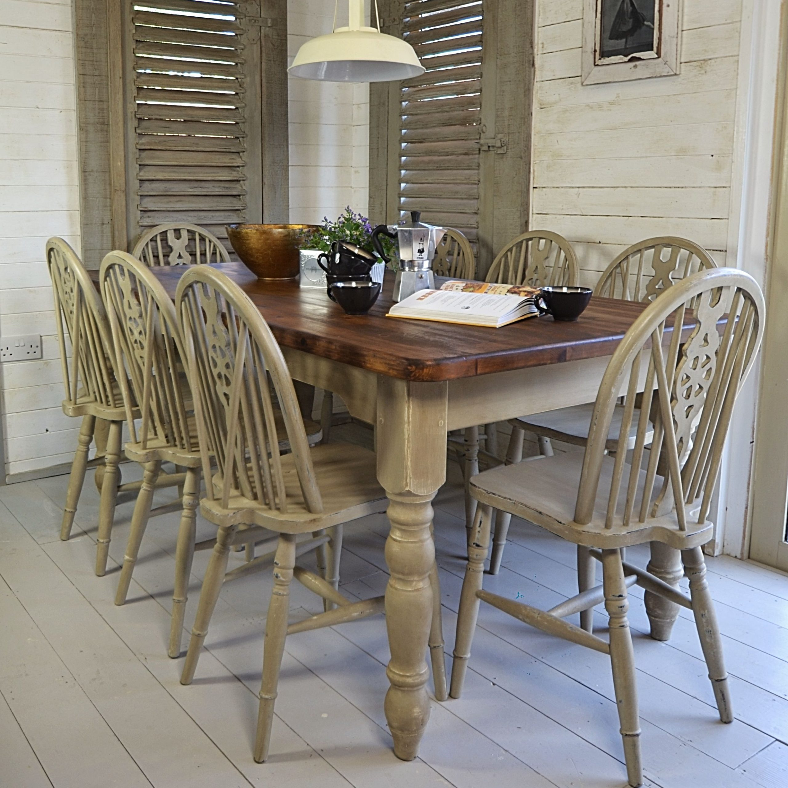 Rustic Shabby Chic Dining Table With 8 Wheelback Chairs For Favorite Large Rustic Look Dining Tables (View 2 of 25)