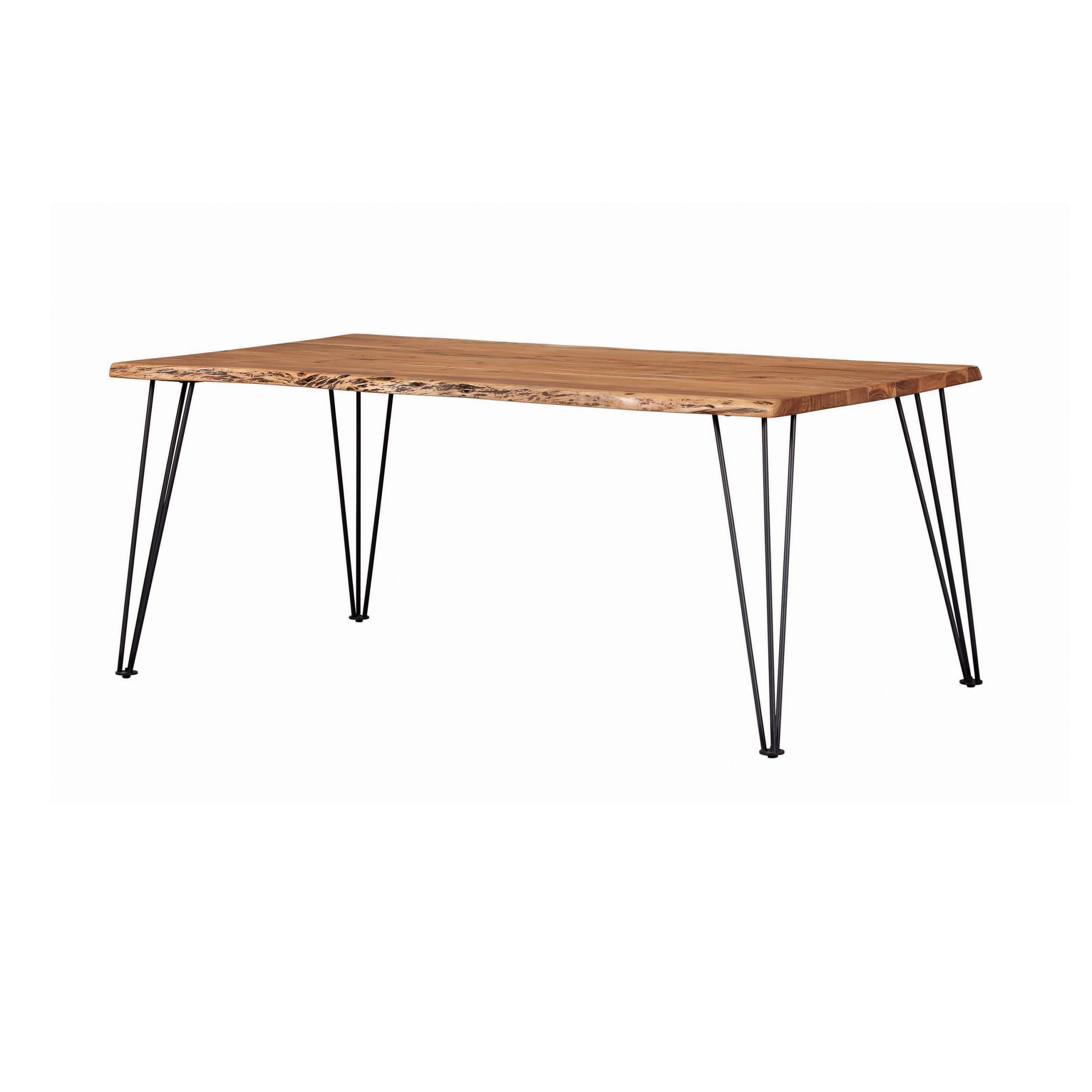 Sherman Rectangular Dining Table Natural Acacia And Matte Within Favorite Acacia Wood Top Dining Tables With Iron Legs On Raw Metal (View 20 of 25)