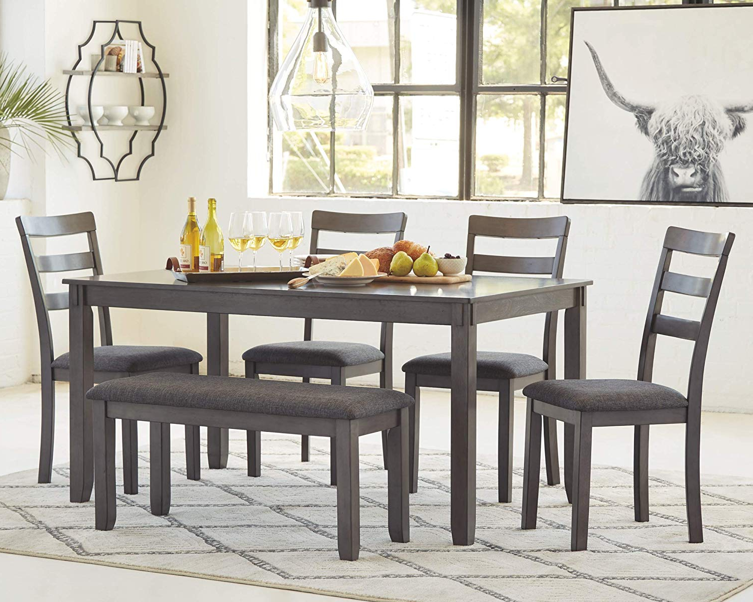 Signature Designashley Bridson Dining Table, Gray In Fashionable Charcoal Transitional 6 Seating Rectangular Dining Tables (View 21 of 25)