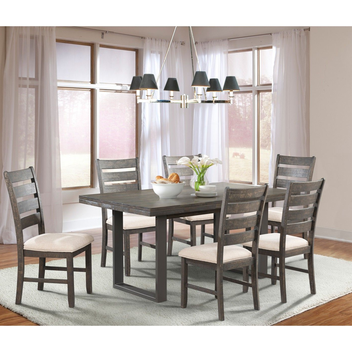 Small Dining Tables With Rustic Pine Ash Brown Finish Regarding Newest Sullivan 7Pc Dining Set Table And 6 Side Chairs Dark Ash (View 12 of 25)