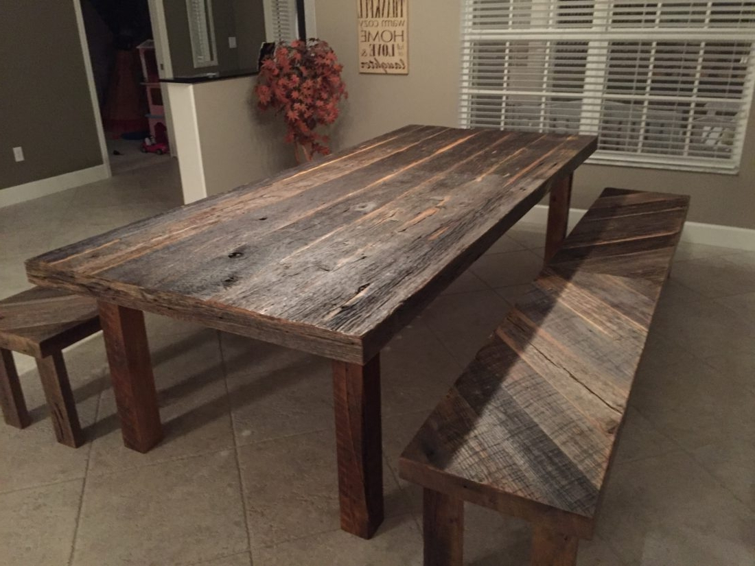 Small Round Dining Tables With Reclaimed Wood For Fashionable Orlando Rustic Reclaimed Wood Dining Table Benches Stacy (View 24 of 25)