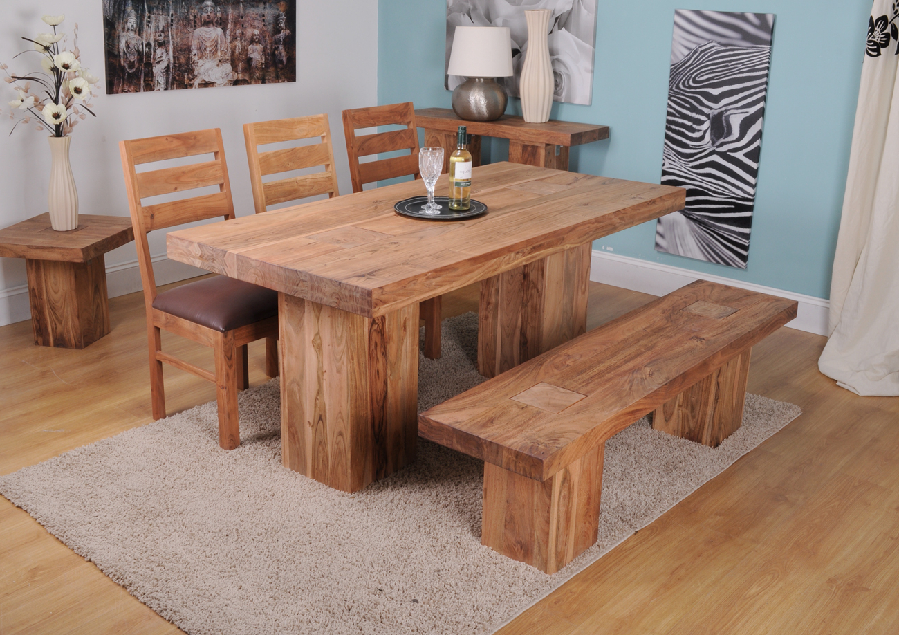 Small Solid Wood Dining Table Image : Gearon Hoffman Home With Regard To Most Recently Released Solid Acacia Wood Dining Tables (View 21 of 25)