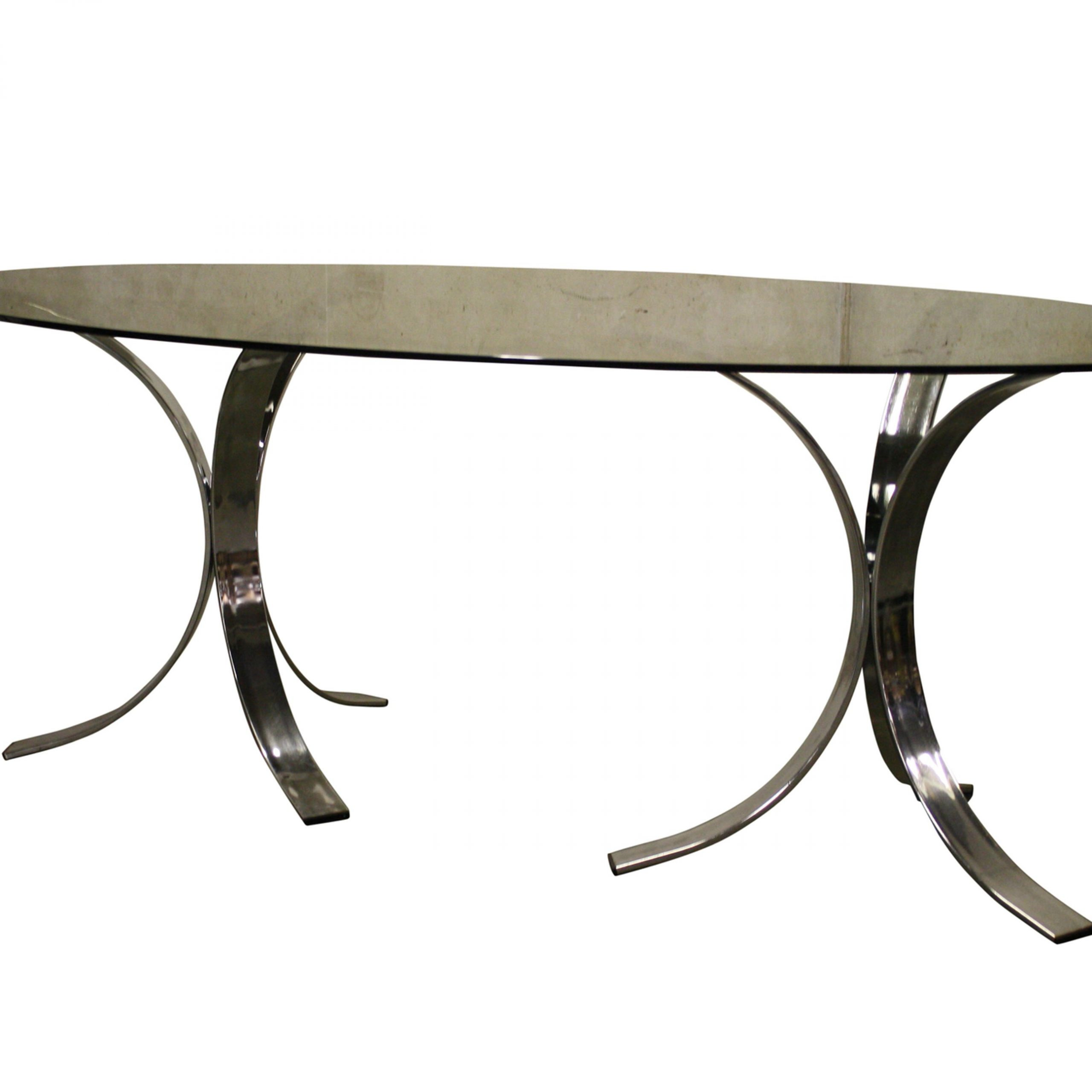 Smoked Oval Glasstop Dining Tables Within Favorite Vintage Chrome Dining Table, 1970S (View 20 of 25)