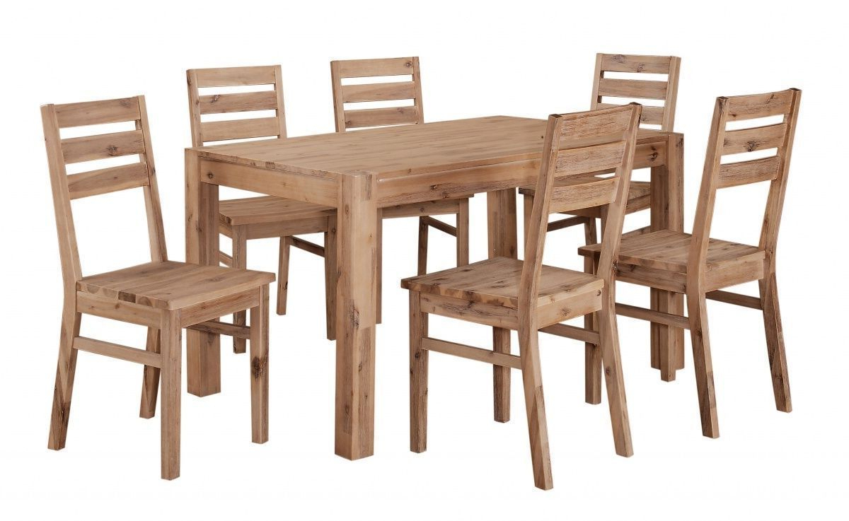 Solid Acacia Wood Dining Tables Regarding Widely Used Solid Acacia Wooden Dining Table And 6 Chairs Set (View 23 of 25)