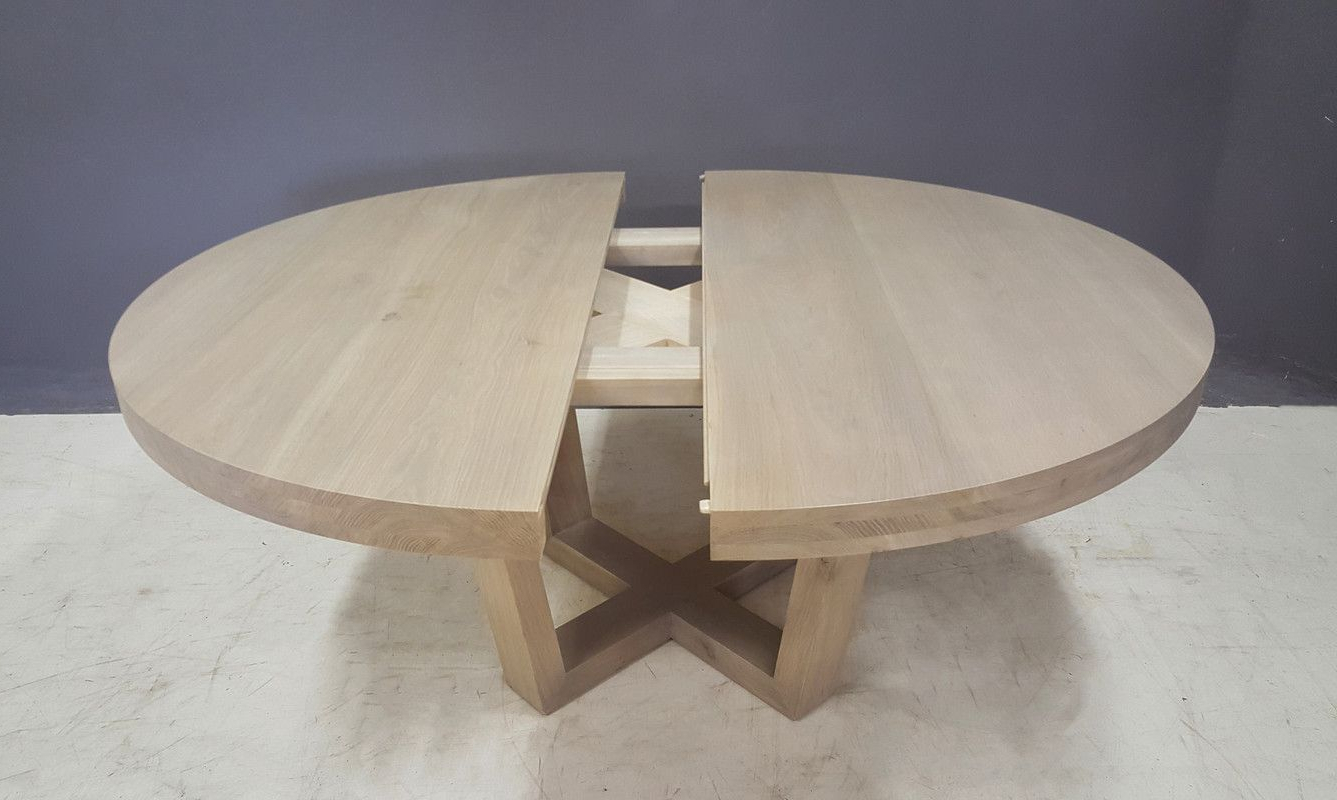 Solid Wood Circular Dining Tables White With Regard To Recent Extendable Aquarius Round Dining Table (View 6 of 25)