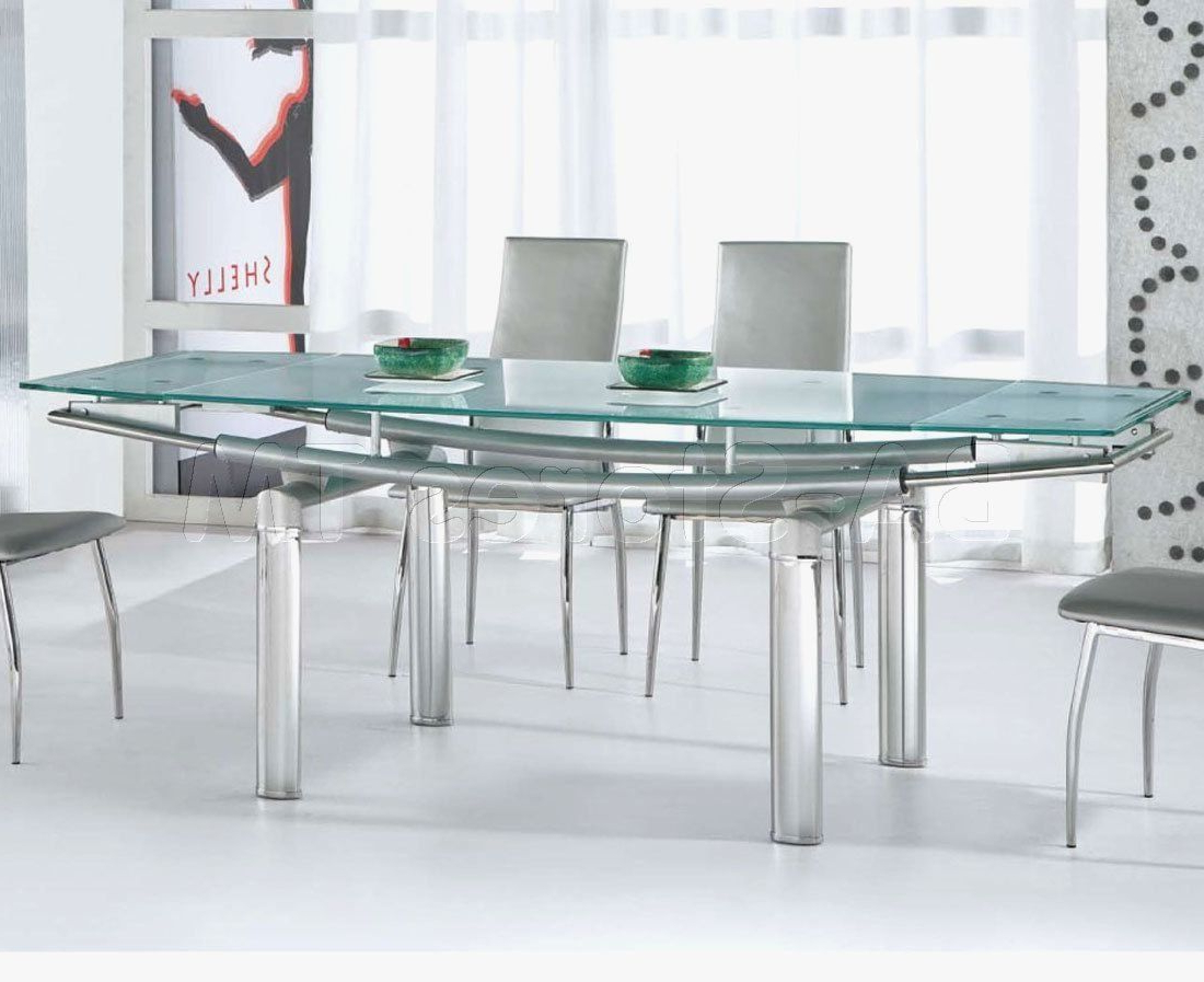 Steel And Glass Rectangle Dining Tables For Latest Stainless Steel Dining Table With Glass Top (View 2 of 25)