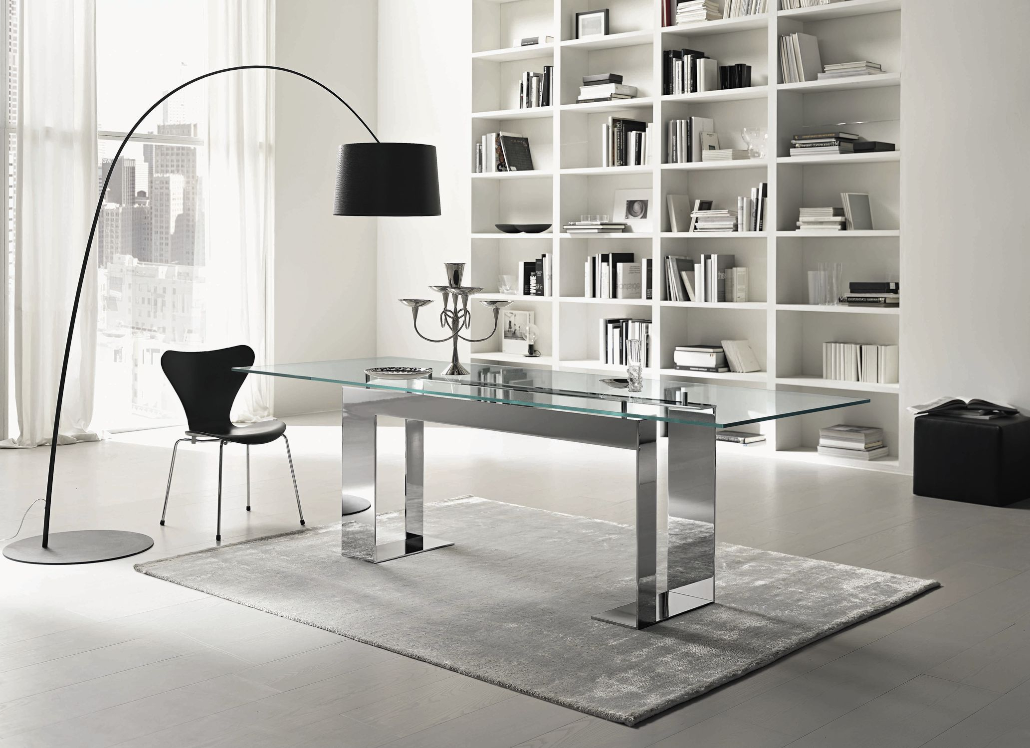 Steel And Glass Rectangle Dining Tables For Trendy Contemporary Table / Chromed Metal / Chromed Metal Base (View 12 of 25)